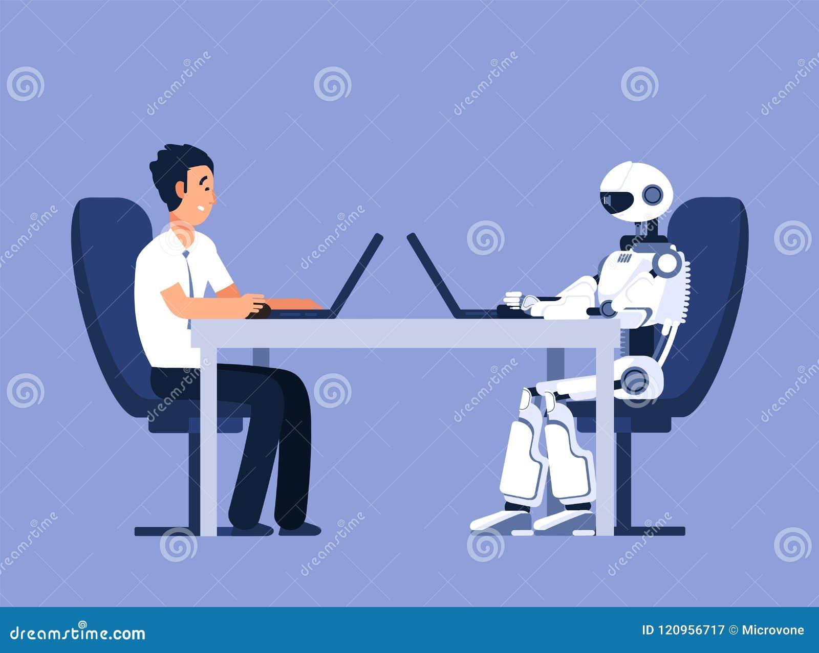 Ρομπότ και επιχειρηματίας Ρομπότ εναντίον της ανθρώπινης, μελλοντικής σύγκρουσης αντικατάστασης AI, διανυσματική έννοια τεχνητής