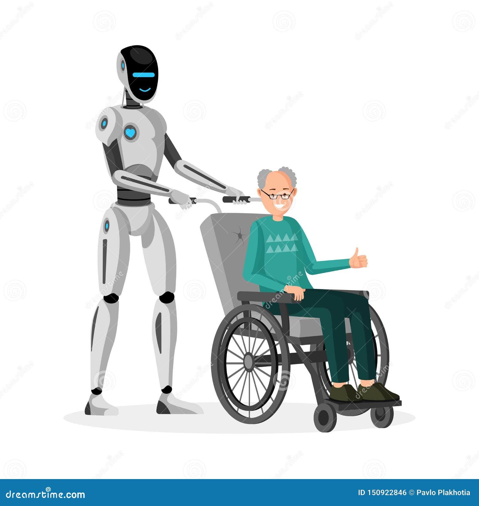 Ρομπότ με την εκτός λειτουργίας επίπεδη διανυσματική απεικόνιση ατόμων Cyborg caregiver και ανάπηρος πρεσβύτερος στην αναπηρική κ