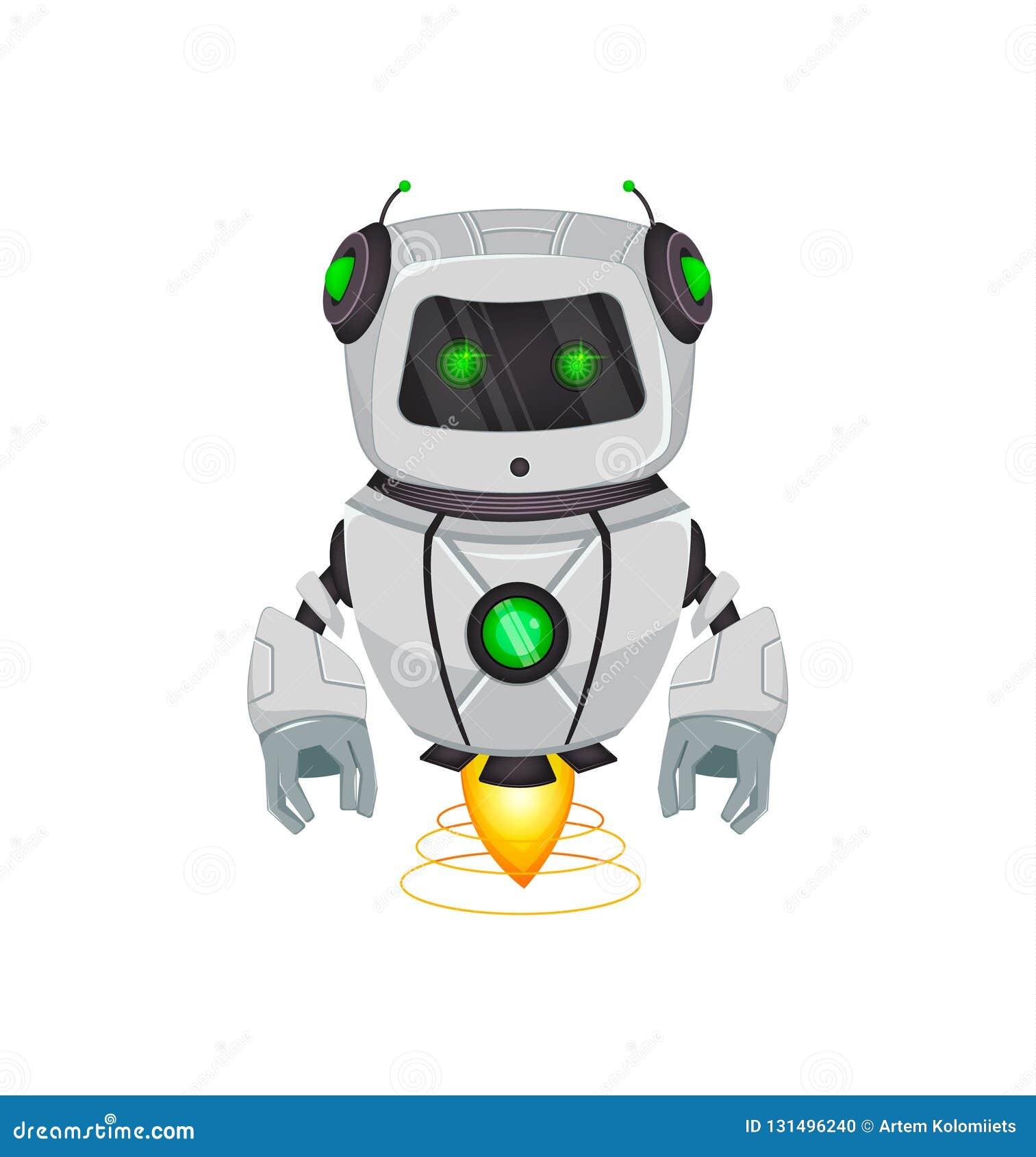 Ρομπότ με την τεχνητή νοημοσύνη, BOT Ο αστείος χαρακτήρας κινουμένων σχεδίων κρατά το πράσινο κιβώτιο δώρων Κυβερνητικός οργανισμ
