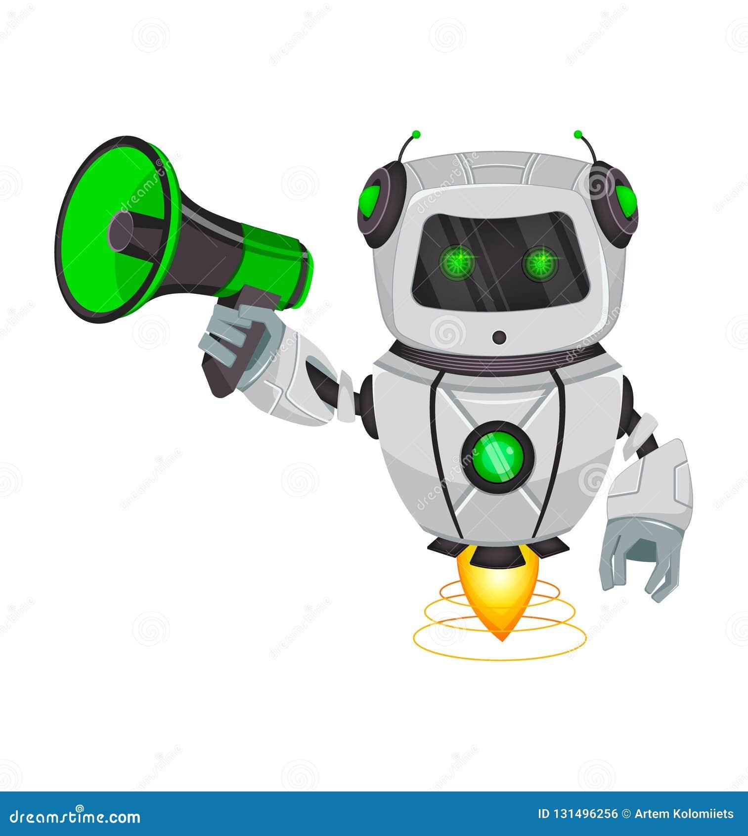 Ρομπότ με την τεχνητή νοημοσύνη, BOT Ο αστείος χαρακτήρας κινουμένων σχεδίων κρατά το μεγάφωνο Κυβερνητικός οργανισμός Humanoid Μ