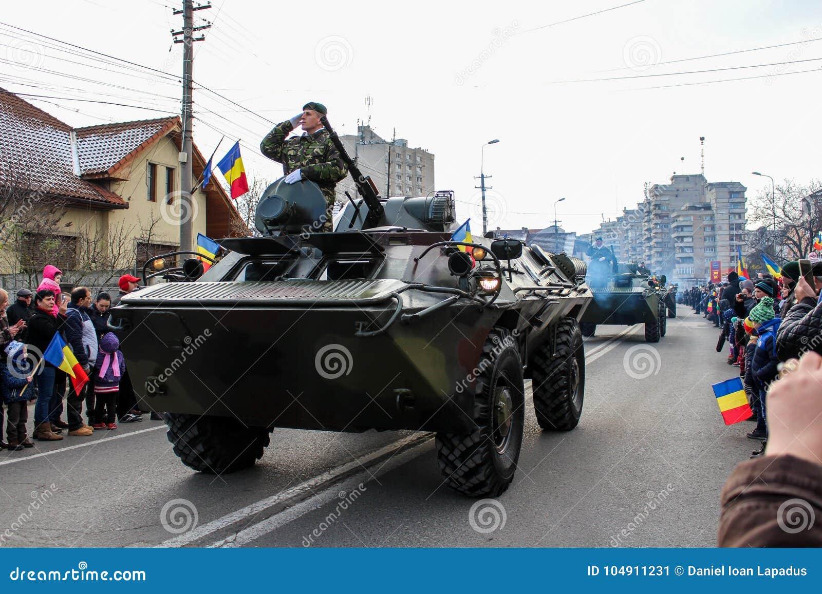 Ρουμανική τάξη στρατού παρελάσεων εθνικής μέρας στρατιωτική vehicule