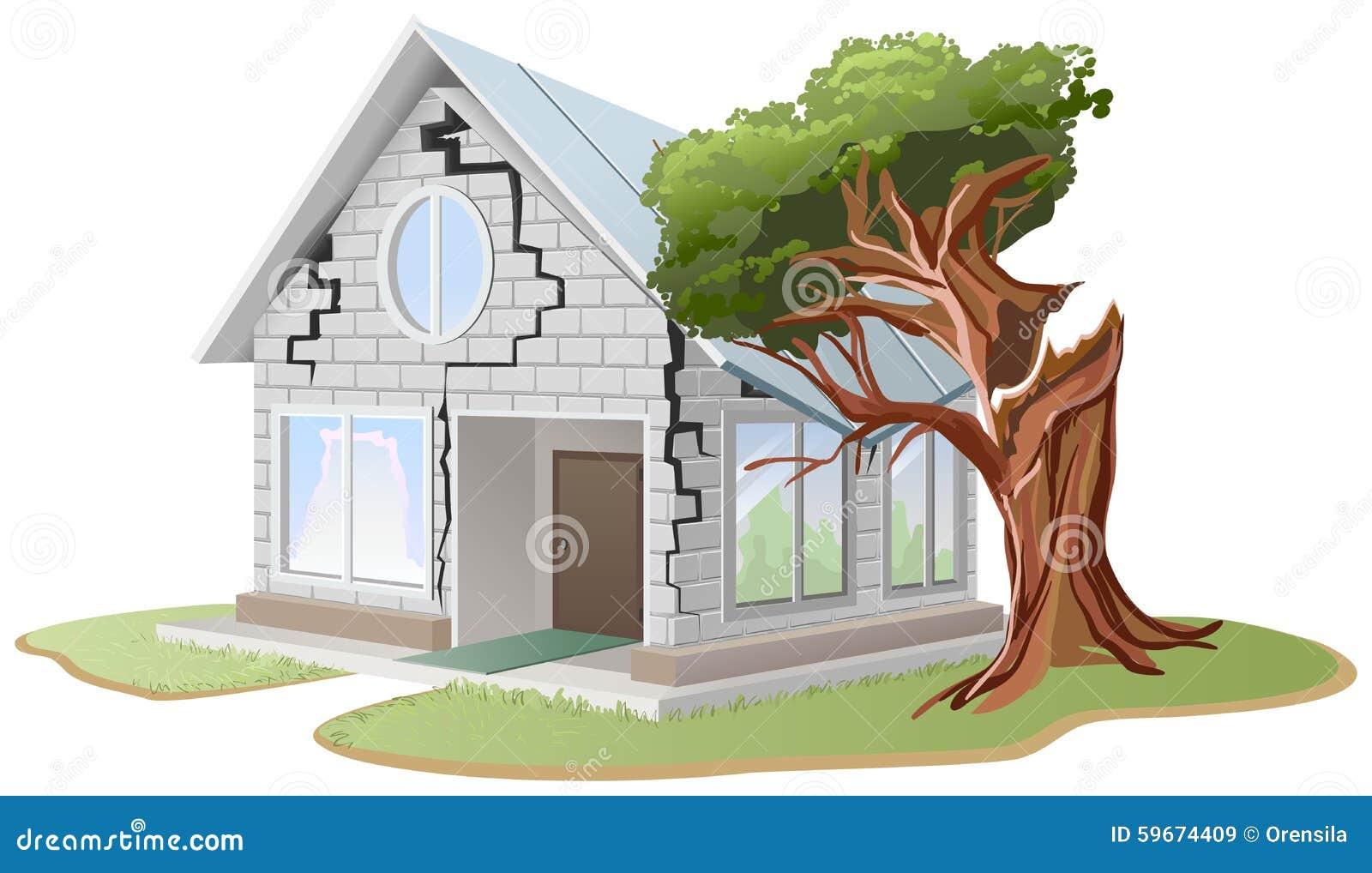 Ρωγμή στο τουβλότοιχο του σπιτιού Το δέντρο αφόρησε το σπίτι Το δέντρο έσπασε το σπίτι
