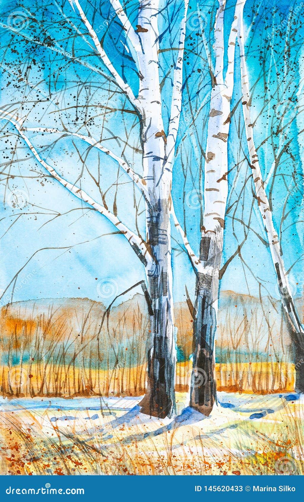 Ρωσικό δασικό τοπίο με τις όμορφες σημύδες σε ένα καθάρισμα με το λειώνοντας χιόνι