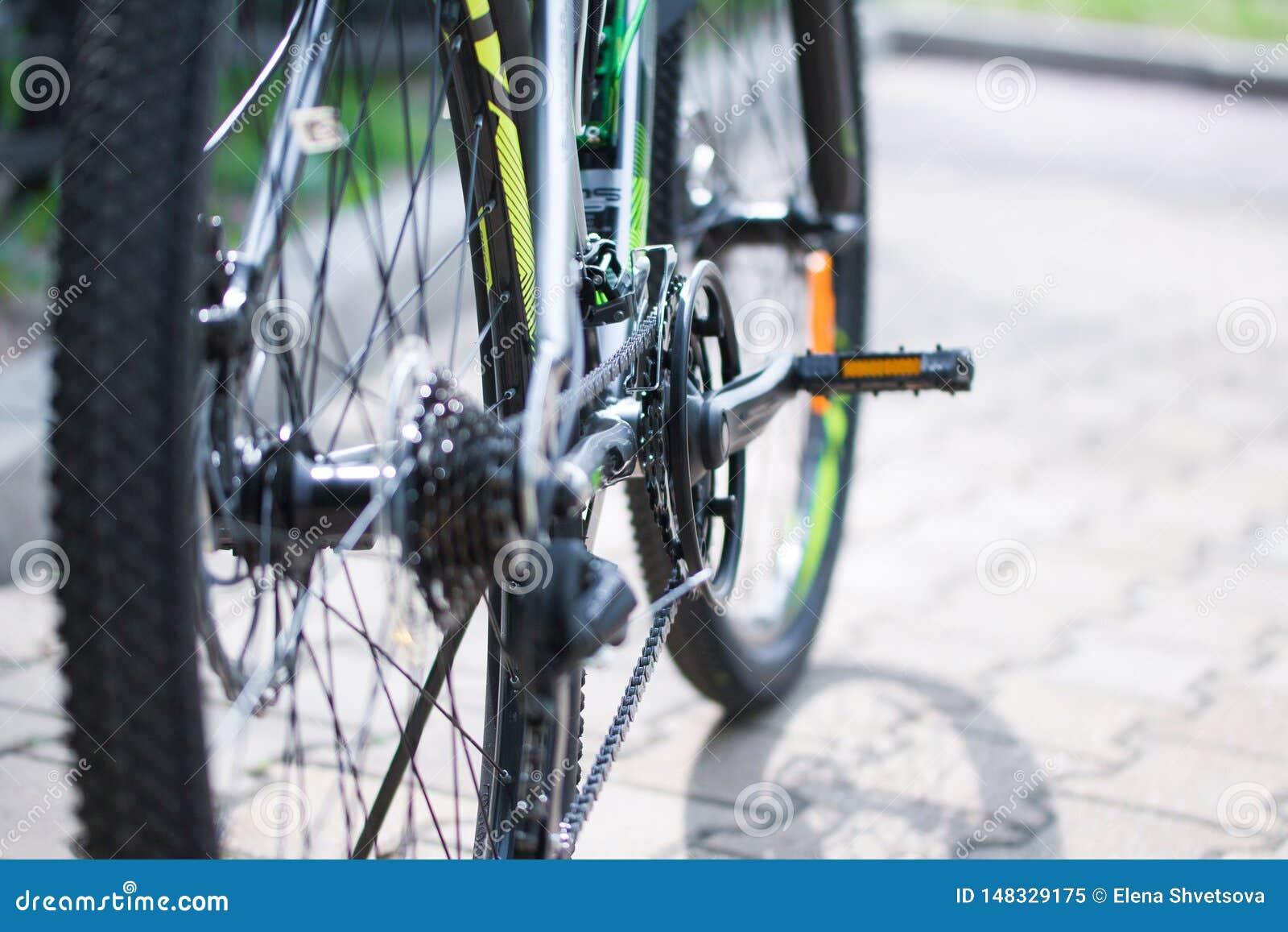 Ρόδες, πεντάλια, αλυσίδα ποδηλάτων, μηχανισμός της μετατροπής των ταχυτήτων του σύγχρονου ποδηλάτου βουνών r o