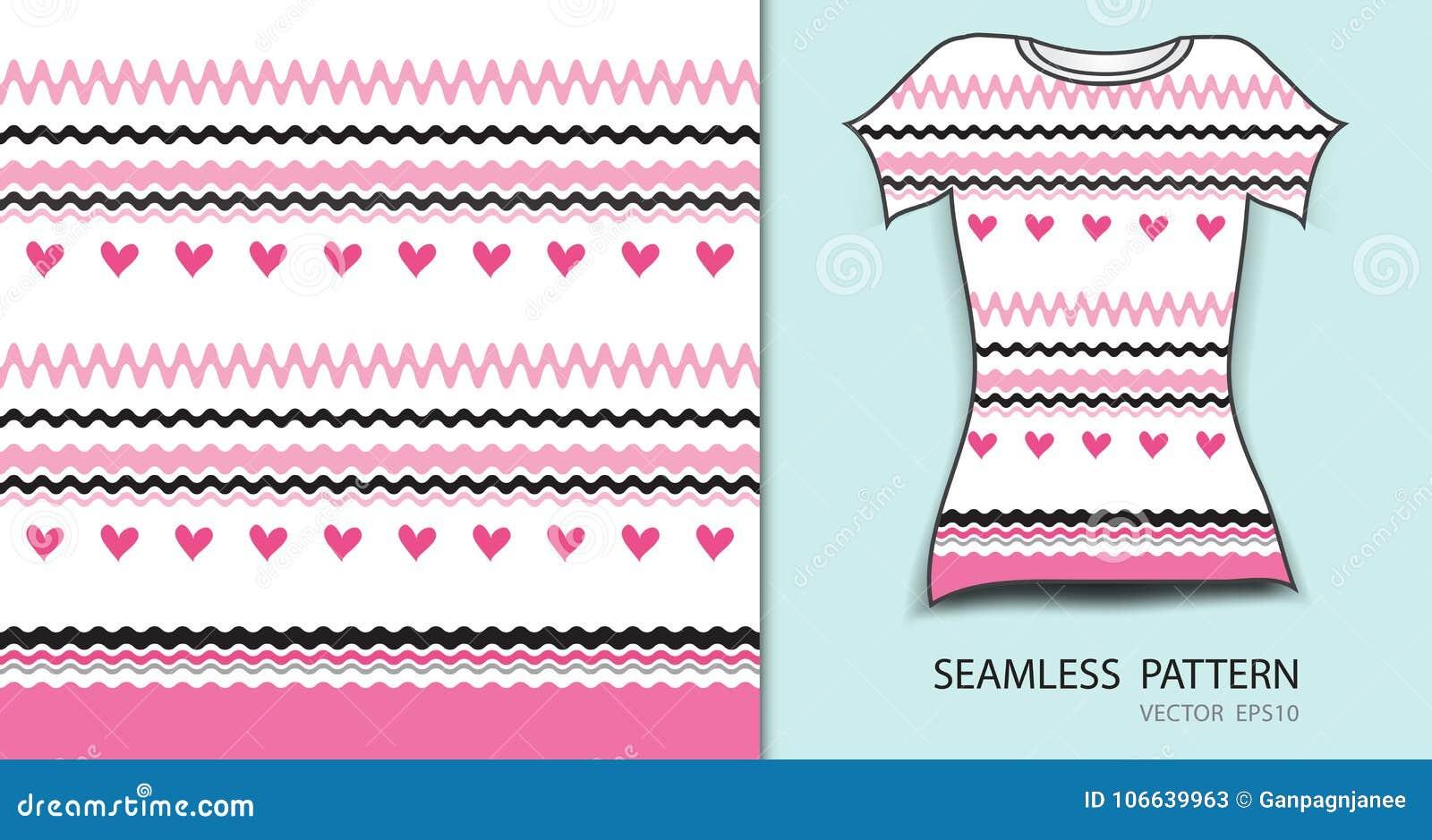 Ρόδινες γραμμές και άνευ ραφής διανυσματική απεικόνιση σχεδίων καρδιών, σχέδιο μπλουζών, σύσταση υφάσματος, διαμορφωμένος ιματισμ