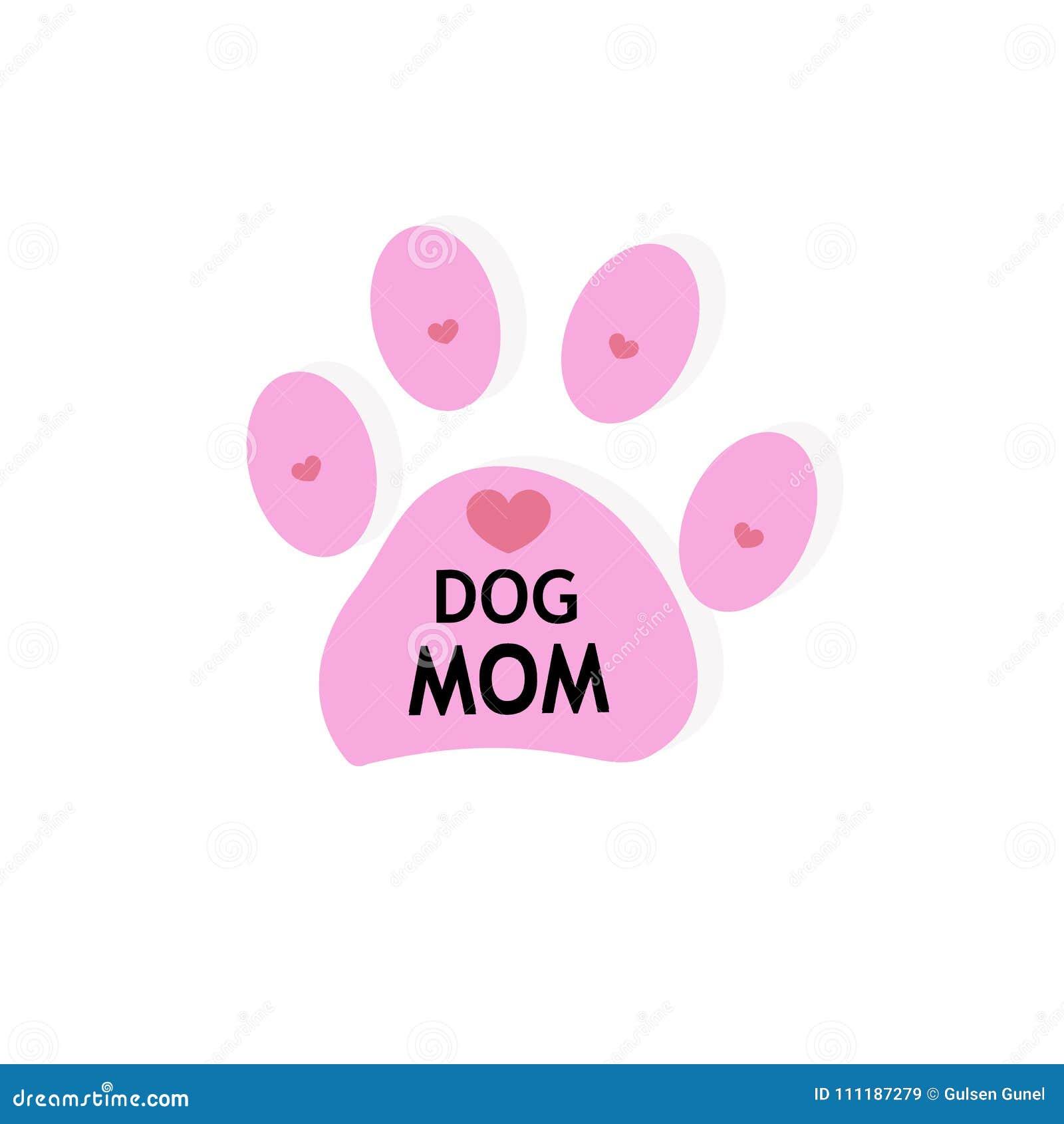 Ρόδινη τυπωμένη ύλη ποδιών σκυλιών με τις καρδιές Κείμενο γατών mom
