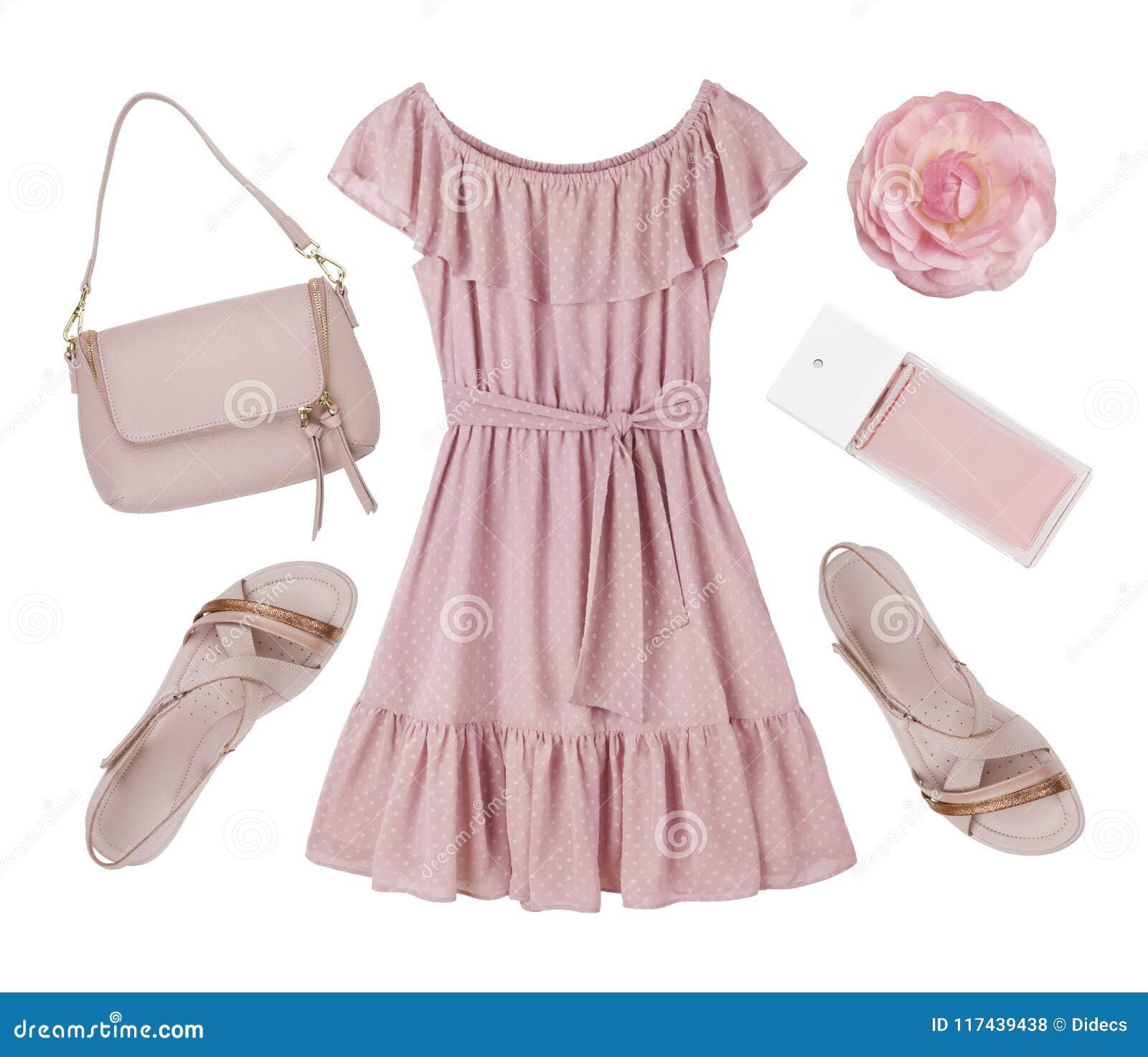 e96259e0e57 Ρόδινο φορεμάτων, παπουτσιών και εξαρτημάτων που απομονώνεται κολάζ ...