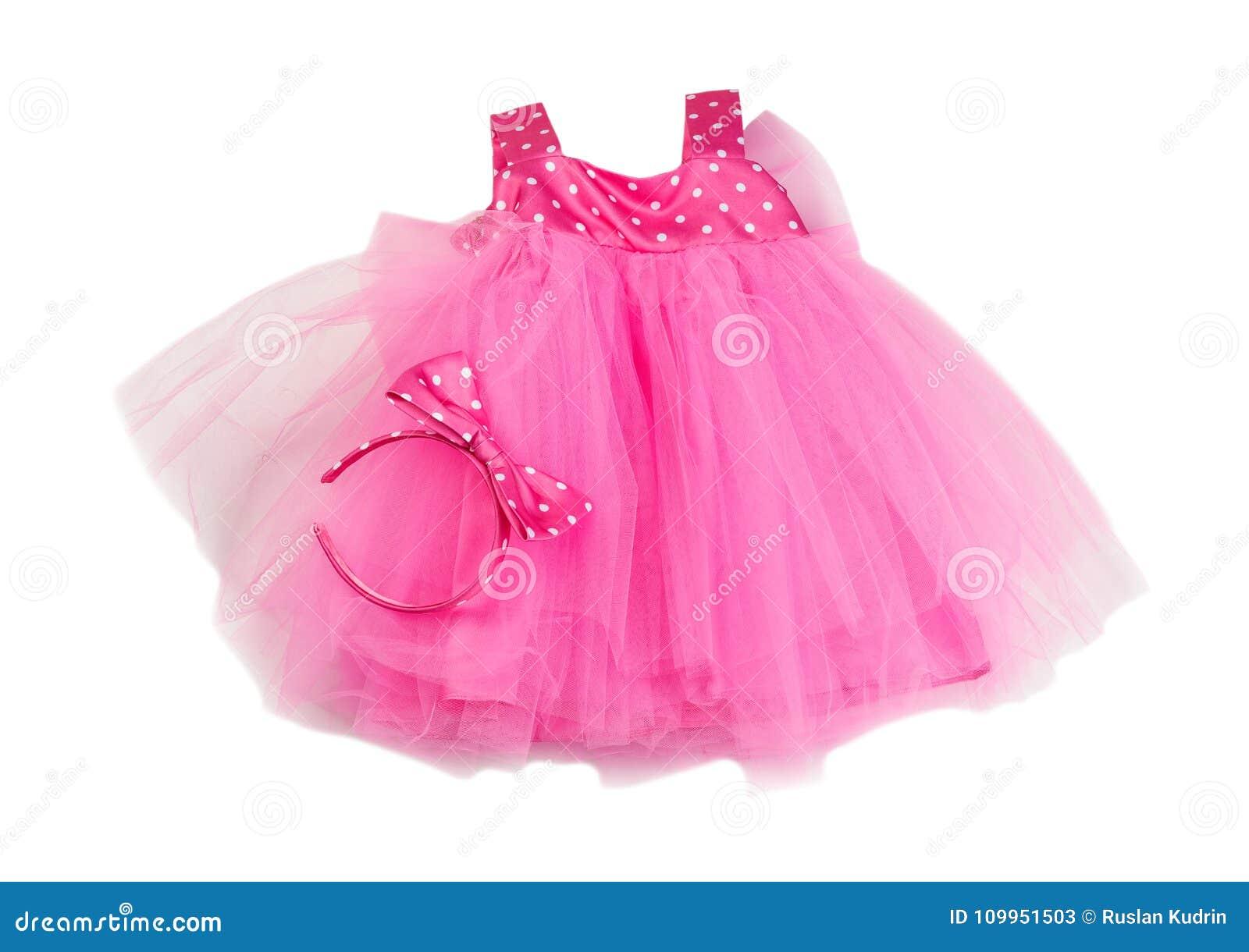 Ρόδινο φόρεμα μωρών δαντελλών Απομονώστε στο λευκό