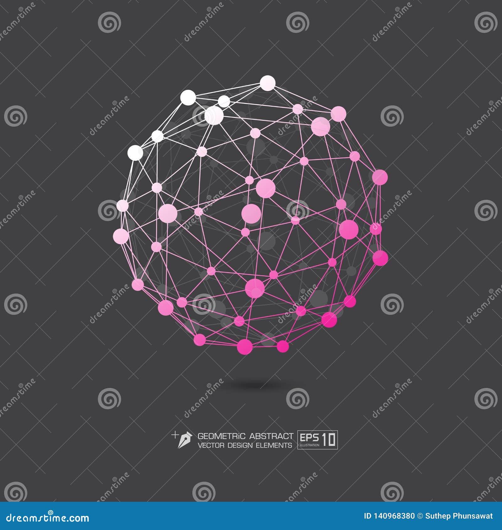 Ρόδινο χρώμα δομών μορίων στην γκρίζα απεικόνιση σχήματος υποβάθρου διανυσματική EPS10