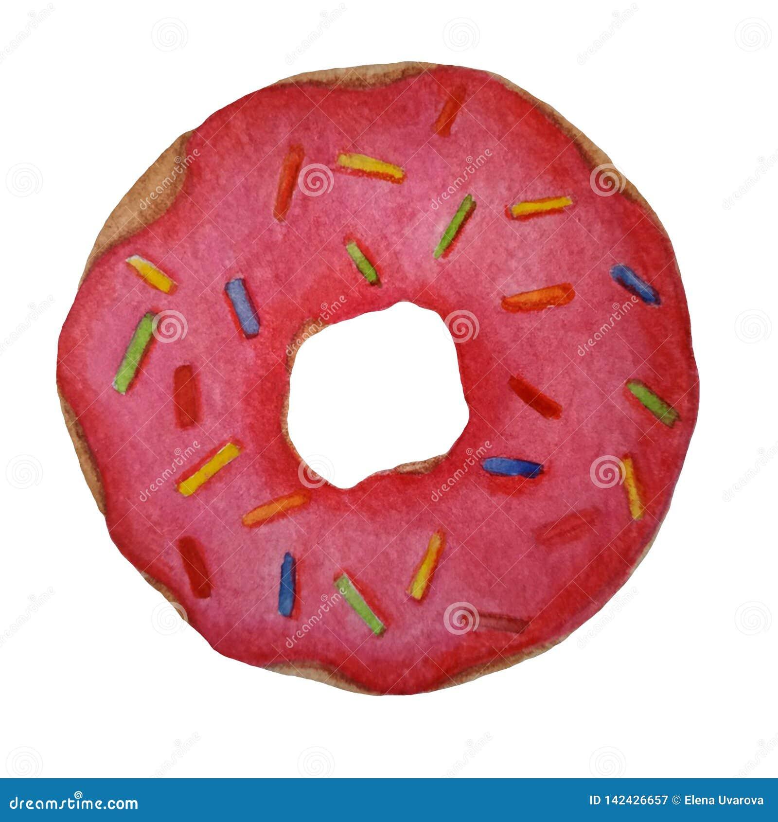 Ρόδινο doughnut watercolor