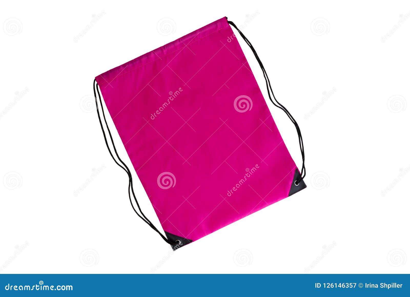 Ρόδινο drawstring πρότυπο πακέτων, πρότυπο της τσάντας για τα αθλητικά παπούτσια που απομονώνονται στο λευκό