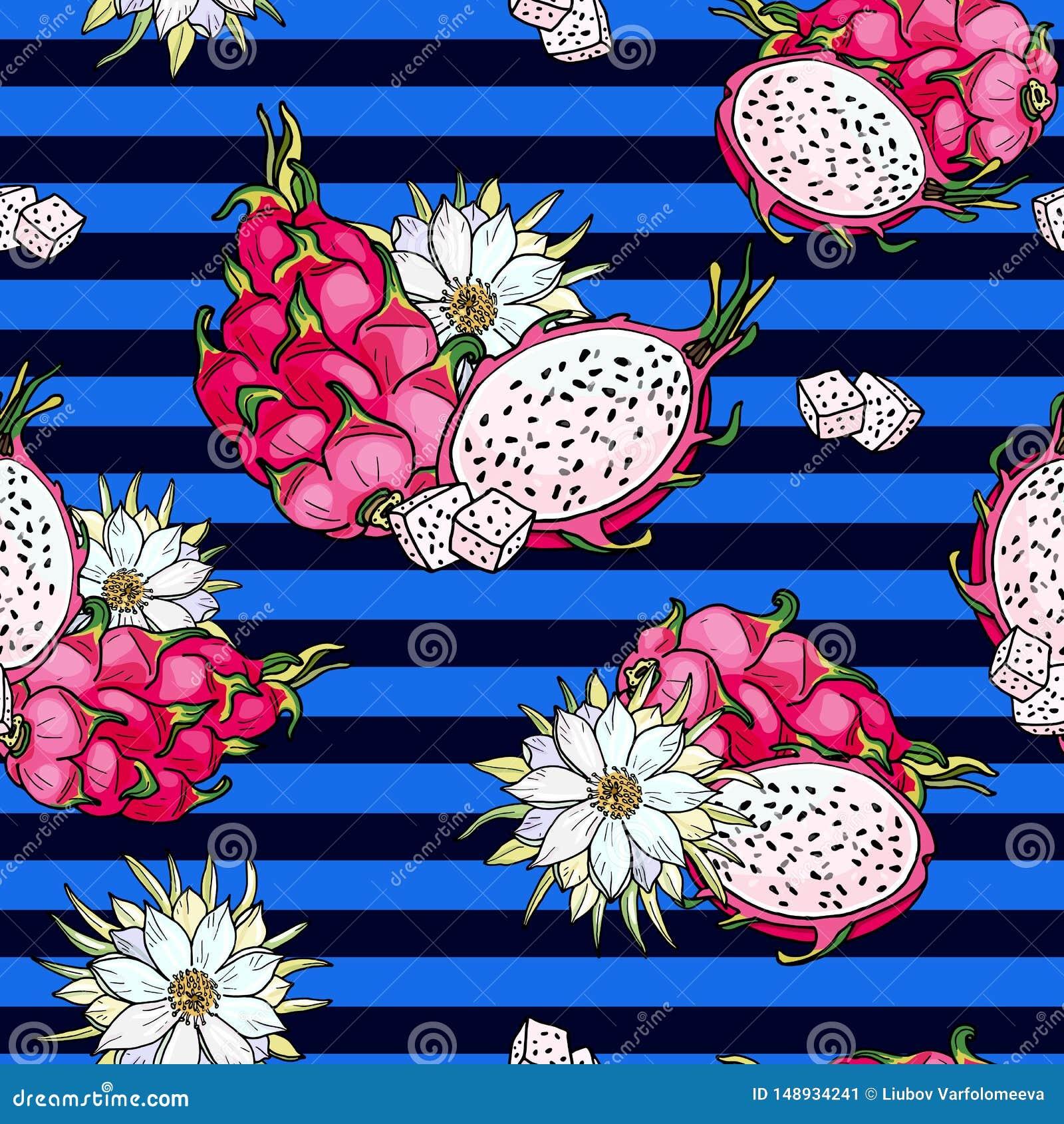 Ρόδινο pitaya Μπλε άνευ ραφής σχέδιο Θερινά τροπικά τρόφιμα για τον υγιή τρόπο ζωής Κόκκινα ολόκληρα φρούτα δράκων και μισός, λου