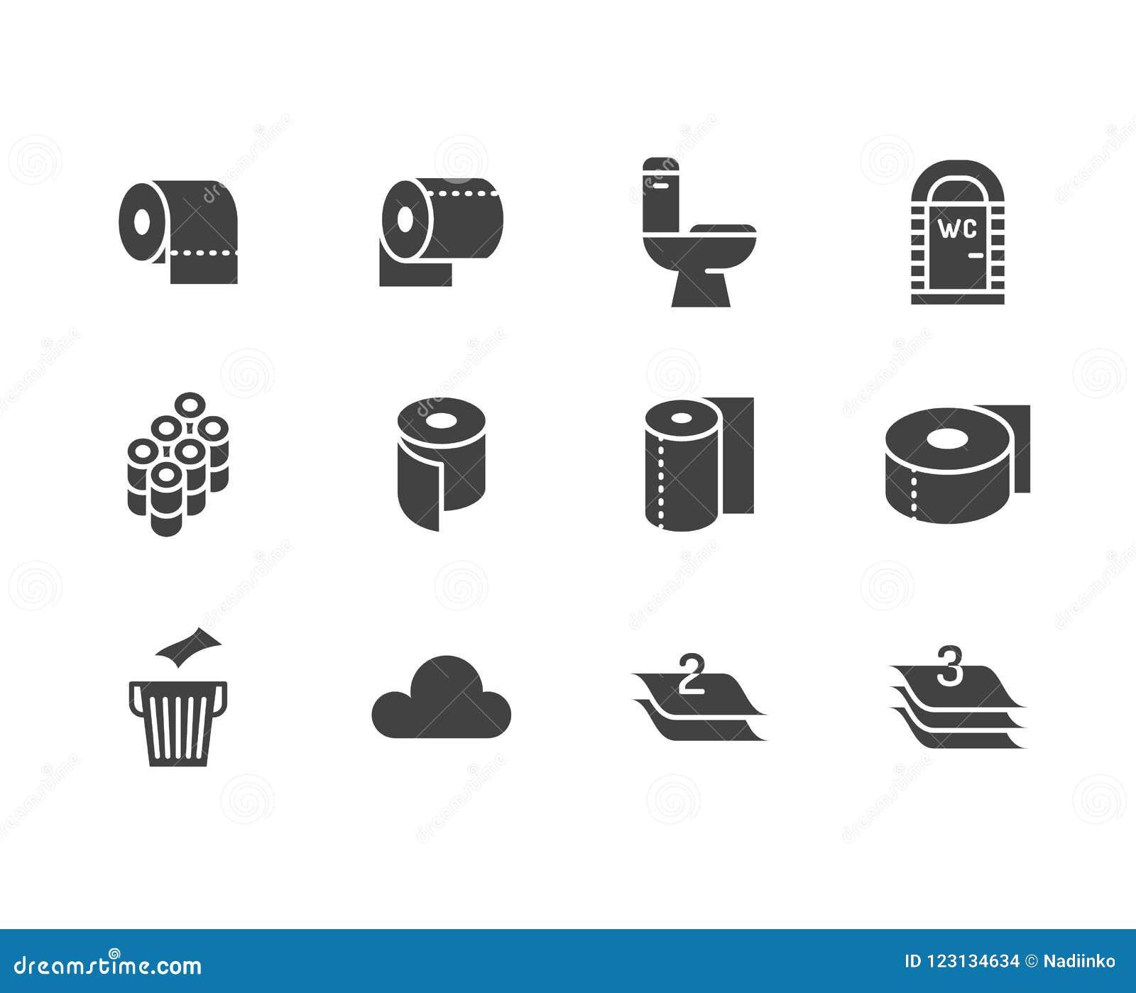 Ρόλος χαρτιού τουαλέτας, επίπεδα εικονίδια glyph πετσετών Διανυσματικές απεικονίσεις υγιεινής, κινητό WC, χώρος ανάπαυσης, βαλμέν