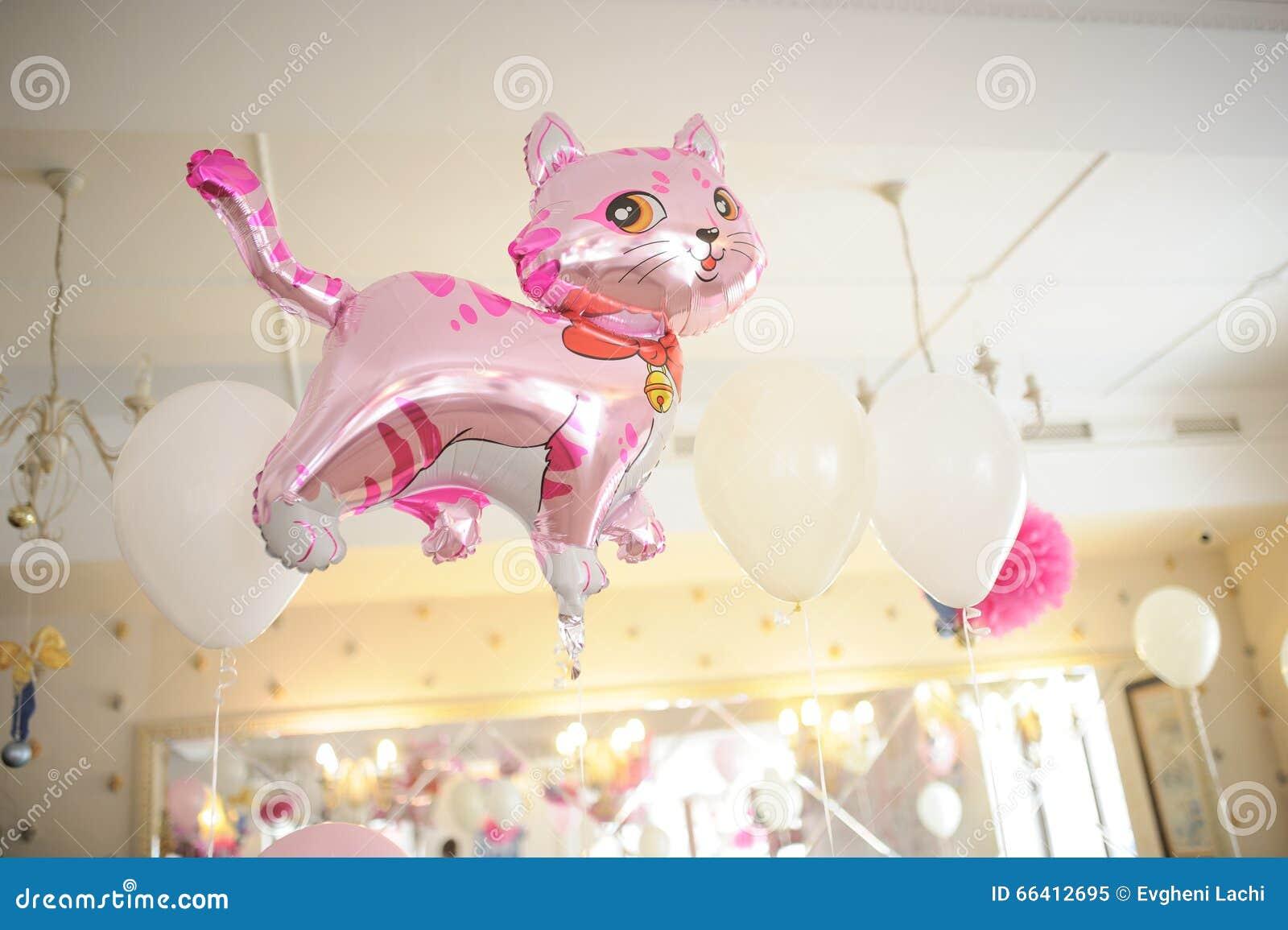 Ρόδινη γάτα ντεκόρ γενεθλίων μωρών ή ντεκόρ ντους μωρών
