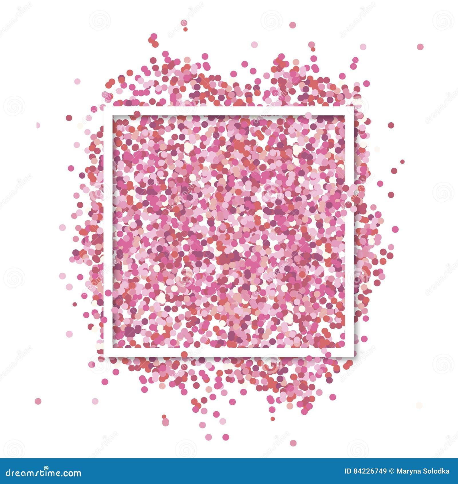 Ρόδινο κομφετί μέσα στο άσπρο τετραγωνικό πλαίσιο Ρομαντικό υπόβαθρο βαλεντίνων με τη θέση κειμένων