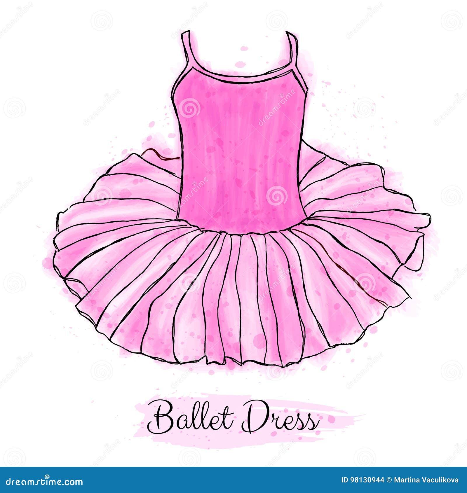 4c2933a9051 Ρόδινο φόρεμα Ballerina Tutu Κλασικό φόρεμα χορού μπαλέτου απόδοσης Συρμένη  χέρι εργασία τέχνης που απομονώνεται στο άσπρο υπόβαθρο