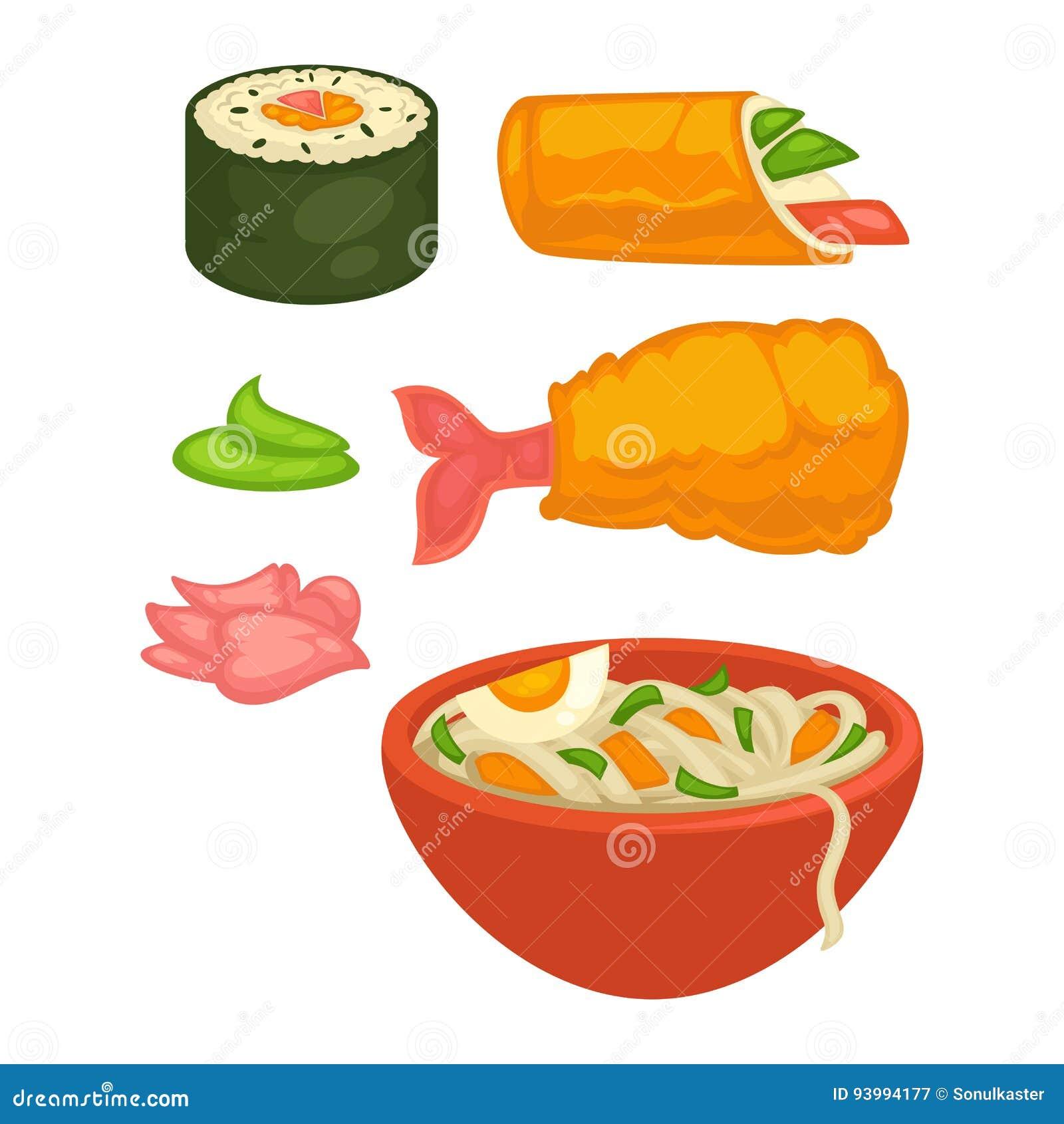 Ρόλοι σουσιών και ιαπωνικά εικονίδια πρόχειρων φαγητών τροφίμων κουζίνας διανυσματικά επίπεδα