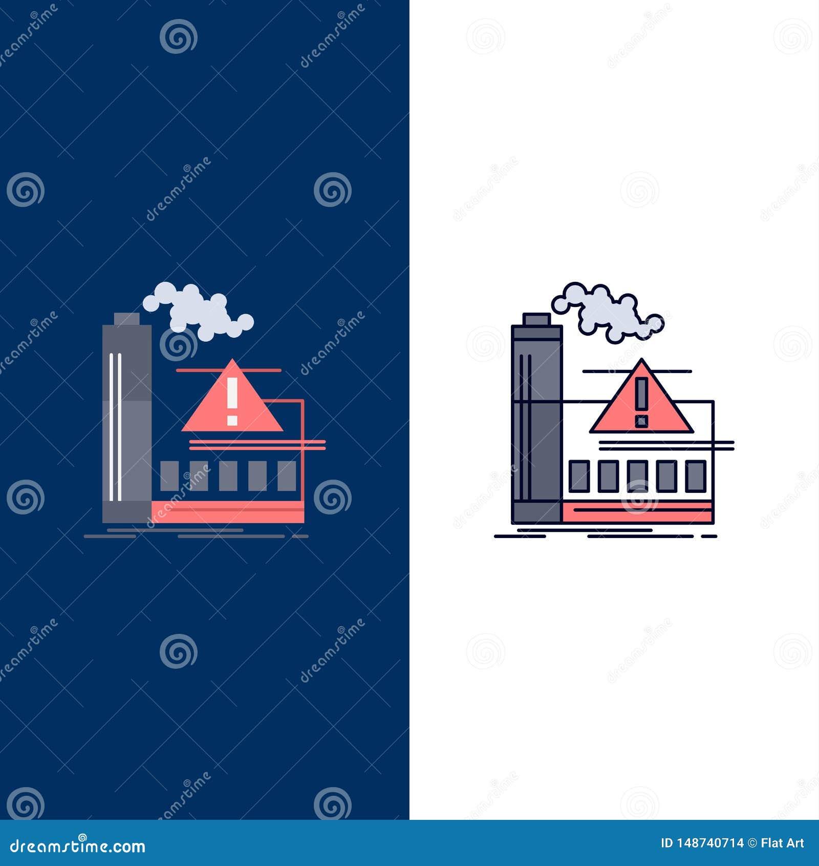 ρύπανση, εργοστάσιο, αέρας, επιφυλακή, επίπεδο διάνυσμα εικονιδίων χρώματος βιομηχανίας