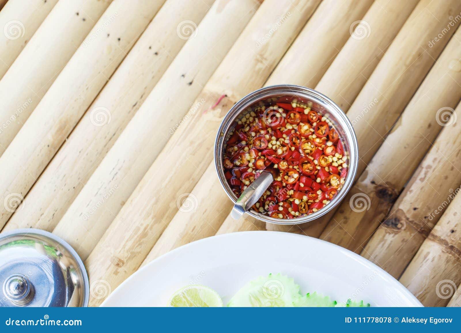 Σάλτσα του κόκκινου πιπεριού τσίλι