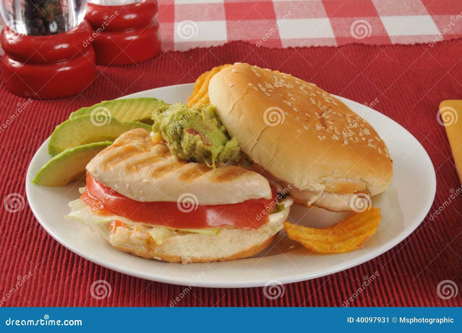 Σάντουιτς κοτόπουλου με τις φέτες αβοκάντο