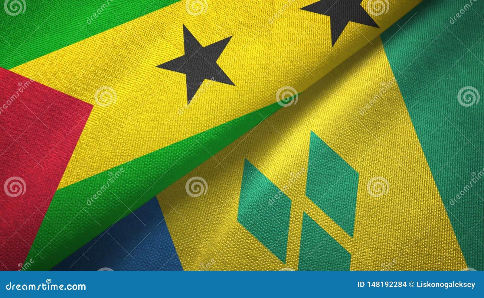 Σάο Τομέ και Πρίντσιπε και Άγιος Βικέντιος και Γρεναδίνες δύο σημαίες