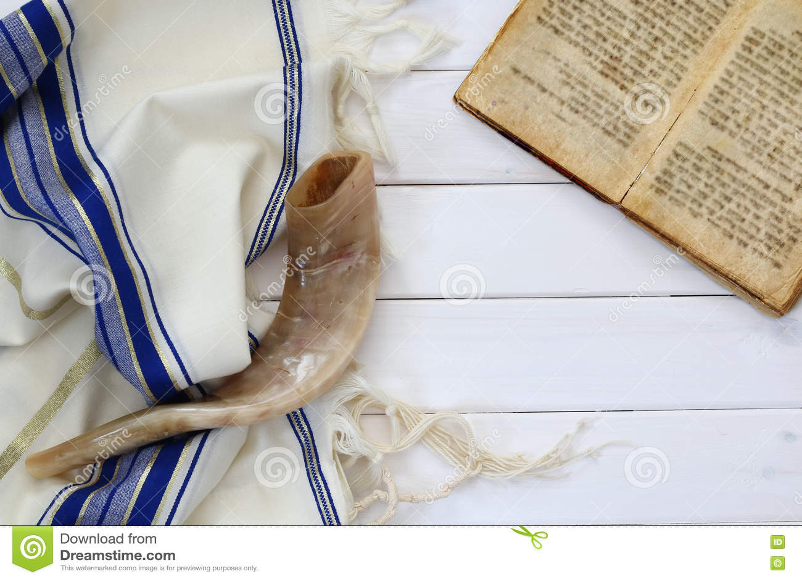 Σάλι προσευχής - εβραϊκό θρησκευτικό σύμβολο Tallit και Shofar (κέρατο)