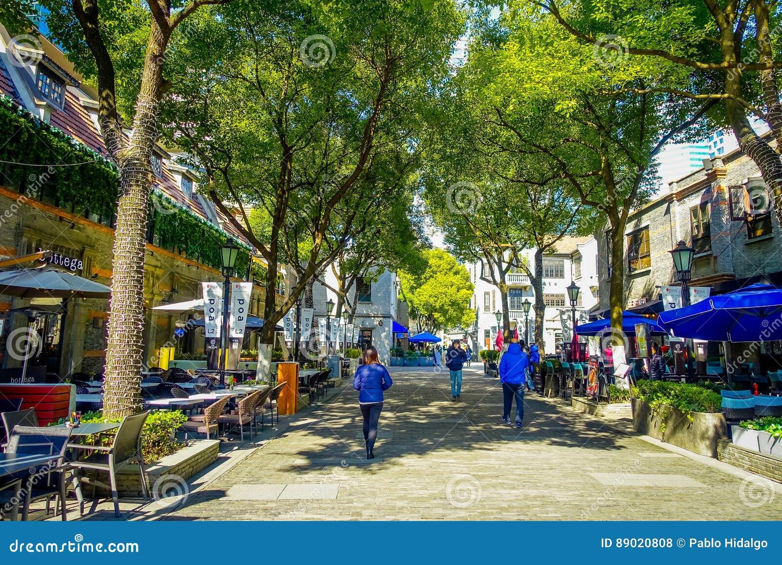 ΣΑΓΚΆΗ, ΚΙΝΑ - 29 ΙΑΝΟΥΑΡΊΟΥ 2017: Περπατώντας γύρω από τη γαλλική περιοχή παραχώρησης της Σαγκάη, δημοφιλής προορισμός για