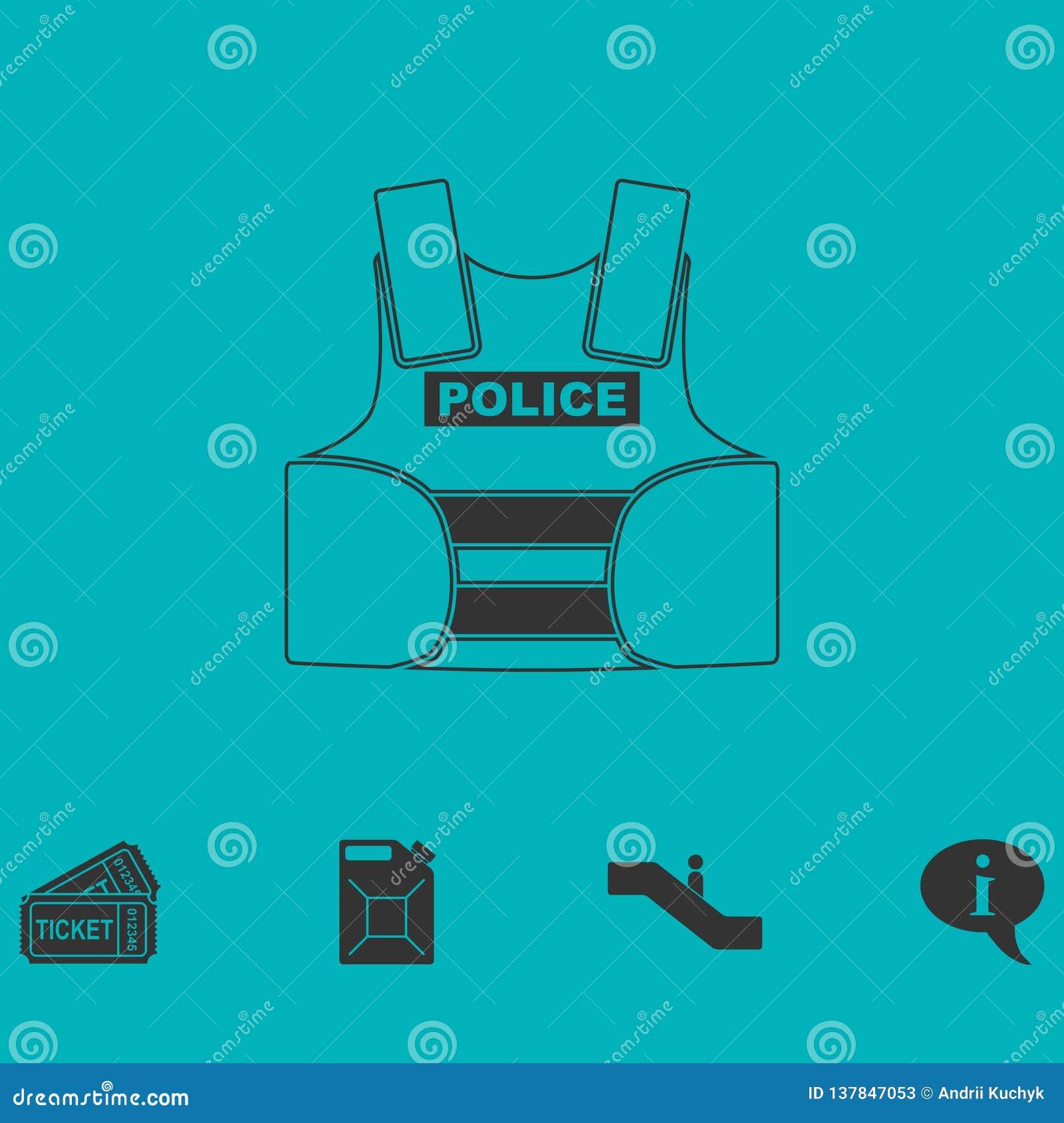 Σακάκι αστυνομίας flak ή αλεξίσφαιρο εικονίδιο φανέλλων επίπεδο