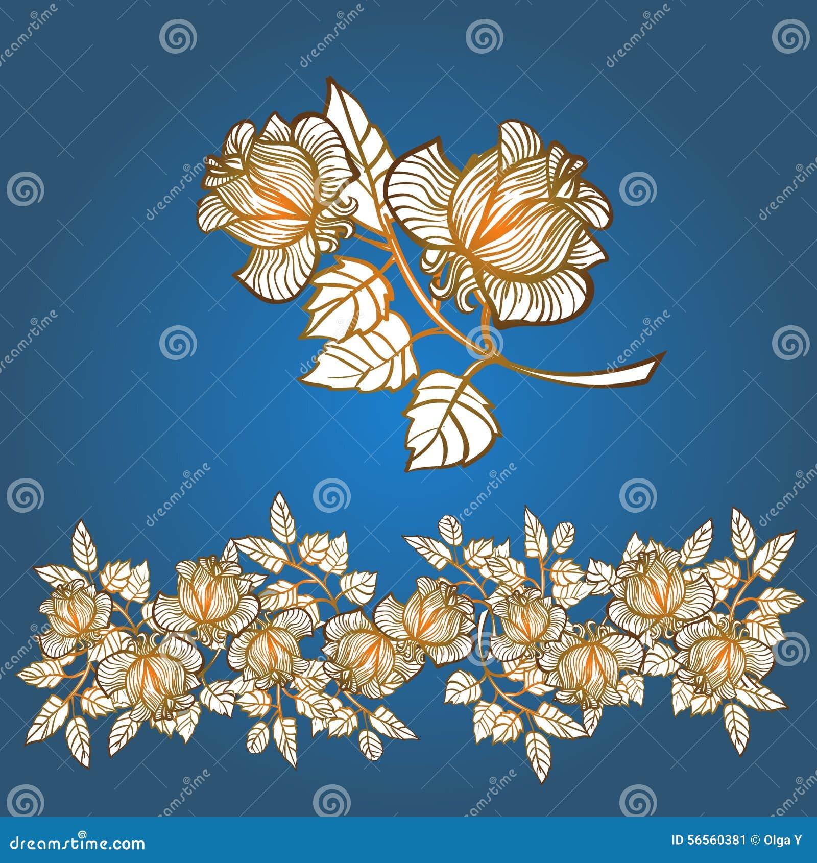 Download σαν χρώματος σχεδίου Vectorized επιθυμία κυλίνδρων στοιχείων Floral εσείς τριαντάφυλλα σύνορα Διανυσματική απεικόνιση - εικονογραφία από παλαιός, γραφικός: 56560381