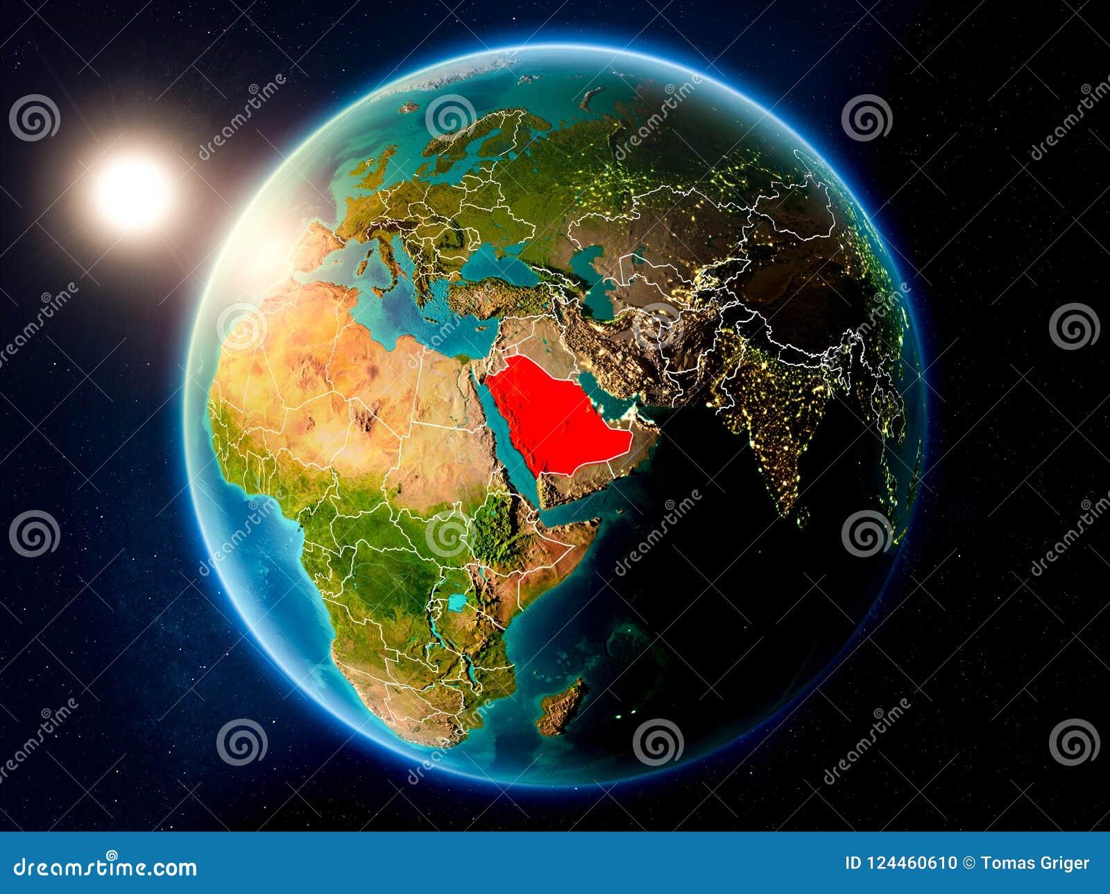 Σαουδική Αραβία με το ηλιοβασίλεμα από το διάστημα