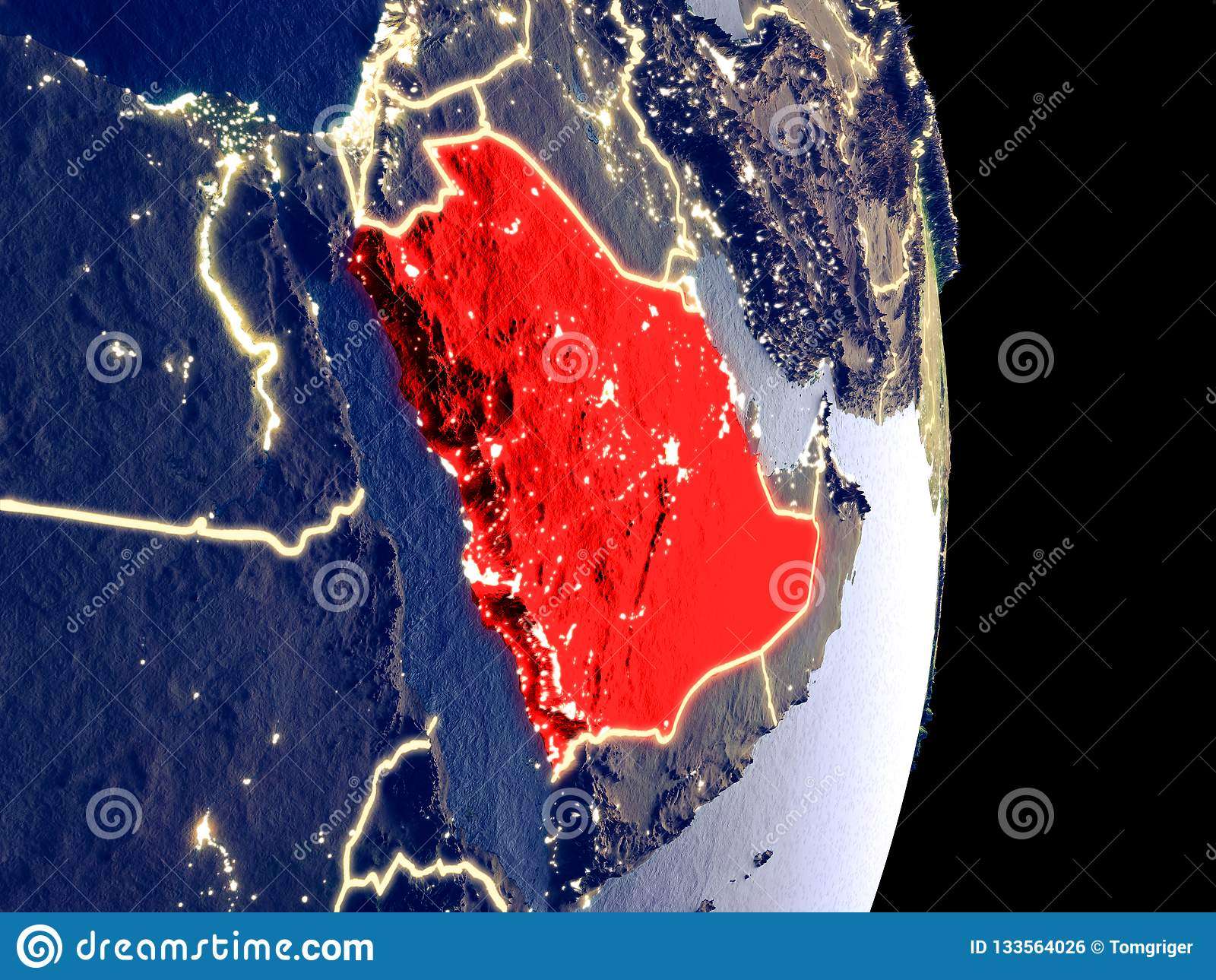 Σαουδική Αραβία στη γη νύχτας