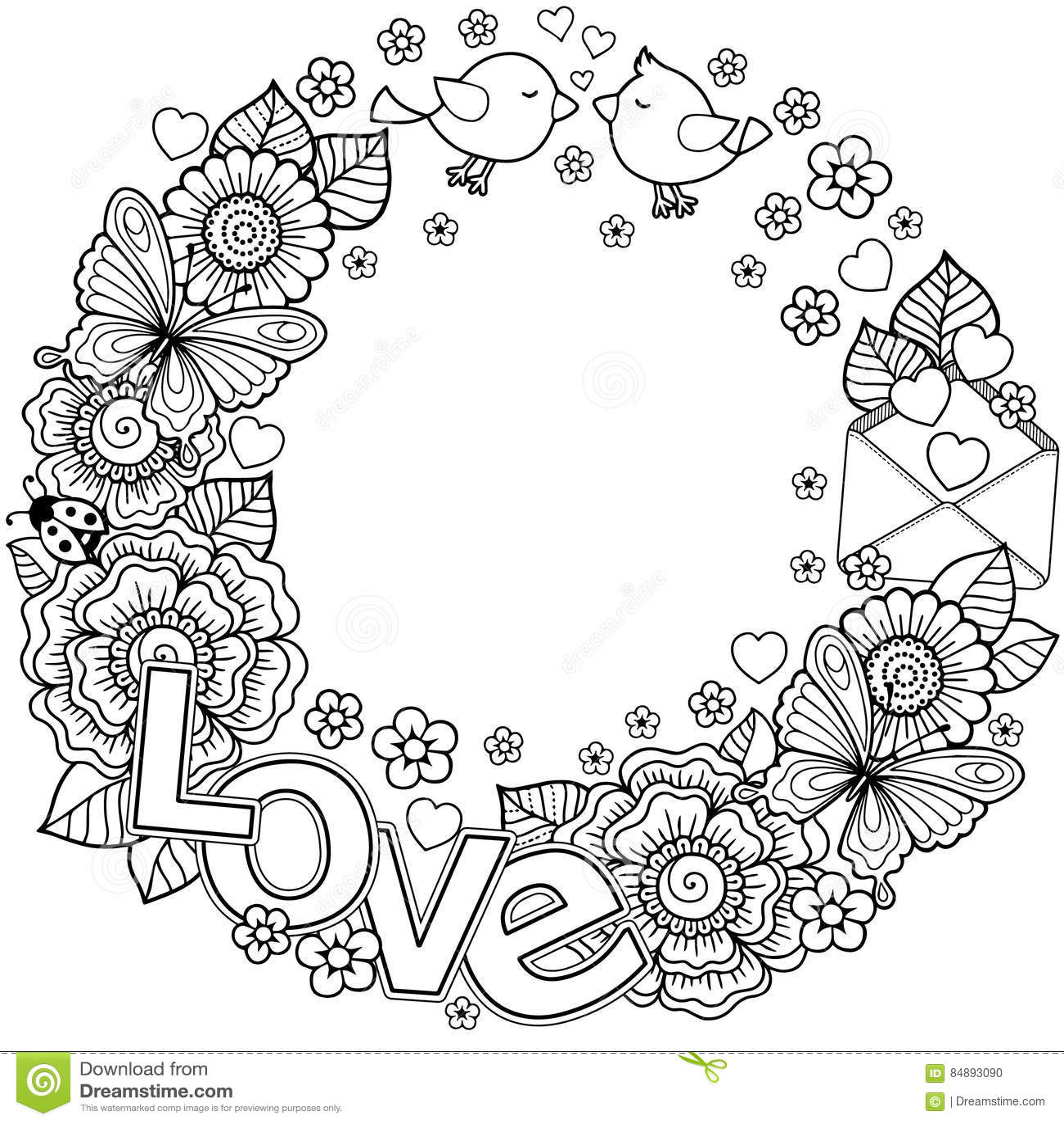 σας αγαπώ Πλαίσιο Rounder φιαγμένο από λουλούδια, πεταλούδες, φίλημα πουλιών και αγάπη λέξης