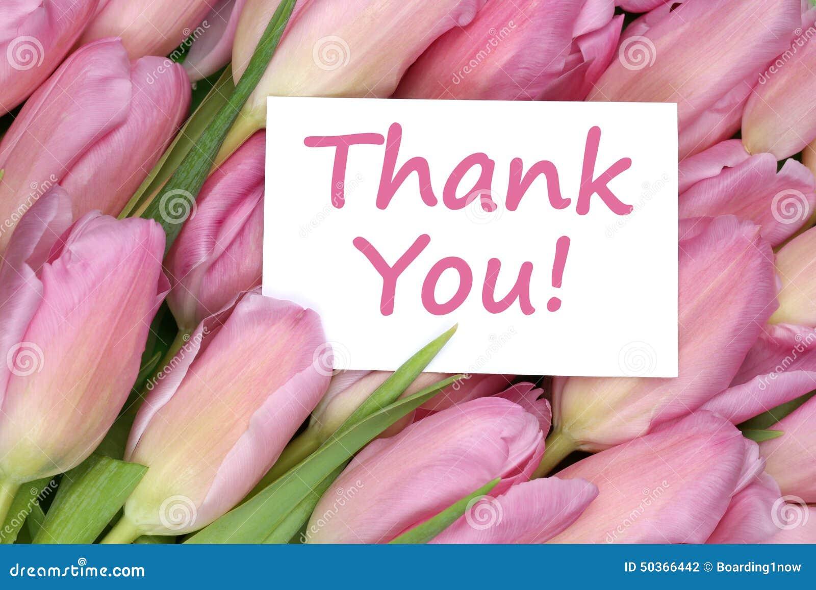 Σας ευχαριστούμε στο δώρο ευχετήριων καρτών με τα λουλούδια τουλιπών