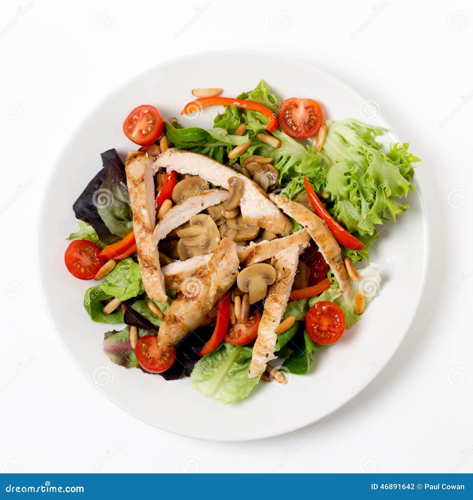Σαλάτα κοτόπουλου και μανιταριών άνωθεν