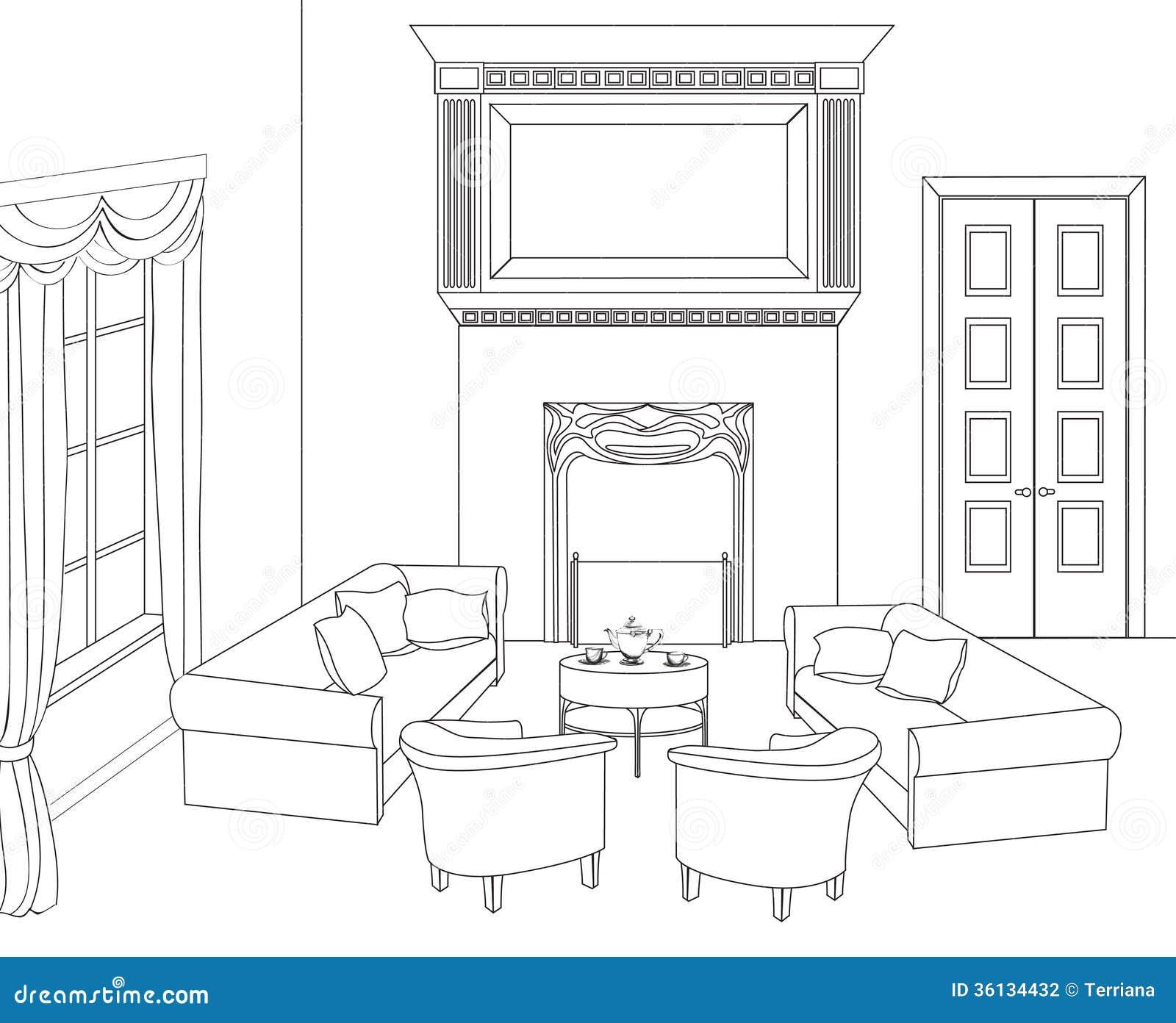 Σαλόνι με την εστία Διανυσματικά έπιπλα Editable εσωτερικό αναδρομικό ύφος