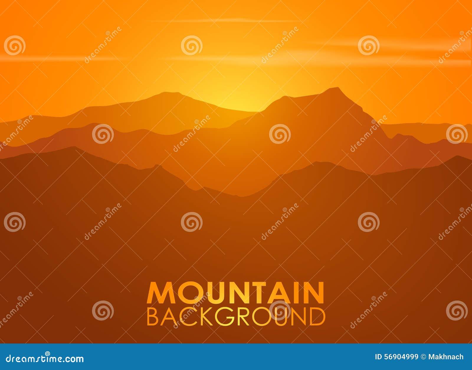 Σειρά βουνών πέρα από το ηλιοβασίλεμα Διανυσματική ανασκόπηση