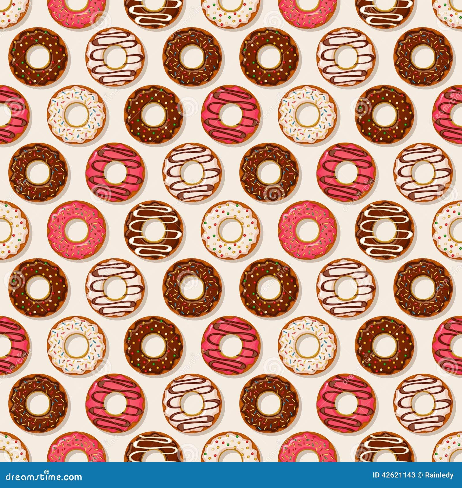 σειρά τροφίμων ανασκόπησης donuts άνευ ραφής διάνυσμα προτύπων