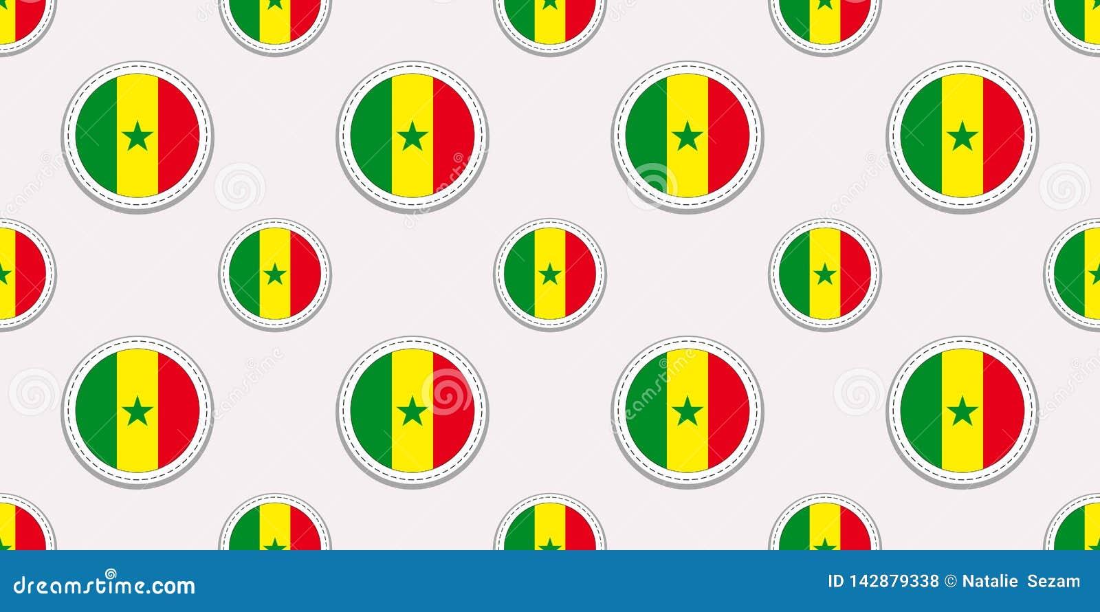 Σενεγάλη γύρω από το άνευ ραφής σχέδιο σημαιών Σενεγαλέζικο υπόβαθρο Διανυσματικά εικονίδια κύκλων Γεωμετρικές αυτοκόλλητες ετικέ