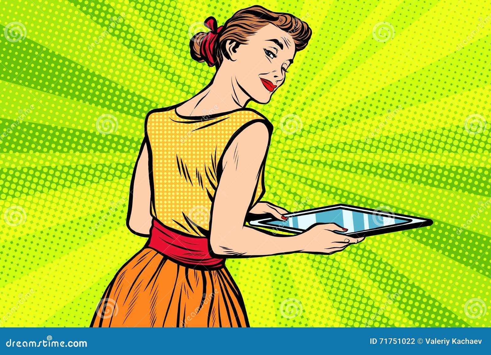 Σερβιτόρα κοριτσιών υπηρεσιών με το δίσκο