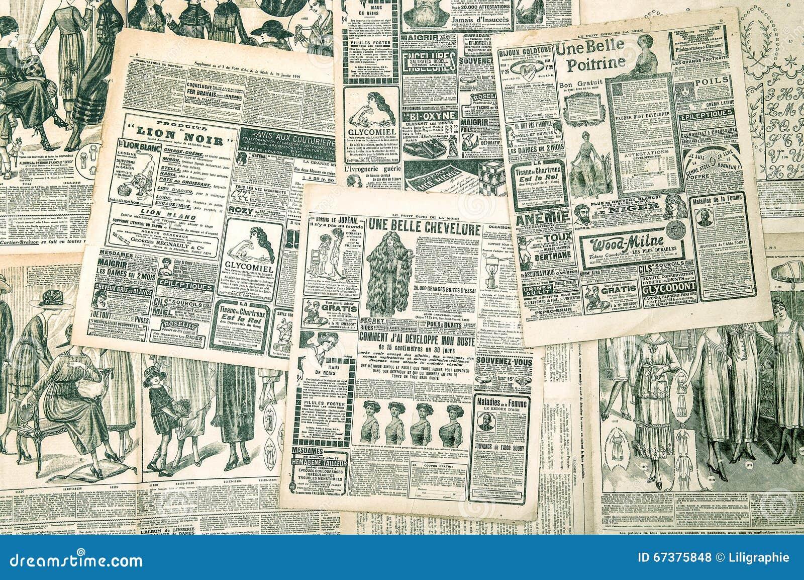 Σελίδες εφημερίδων με την παλαιά διαφήμιση Περιοδικό μόδας