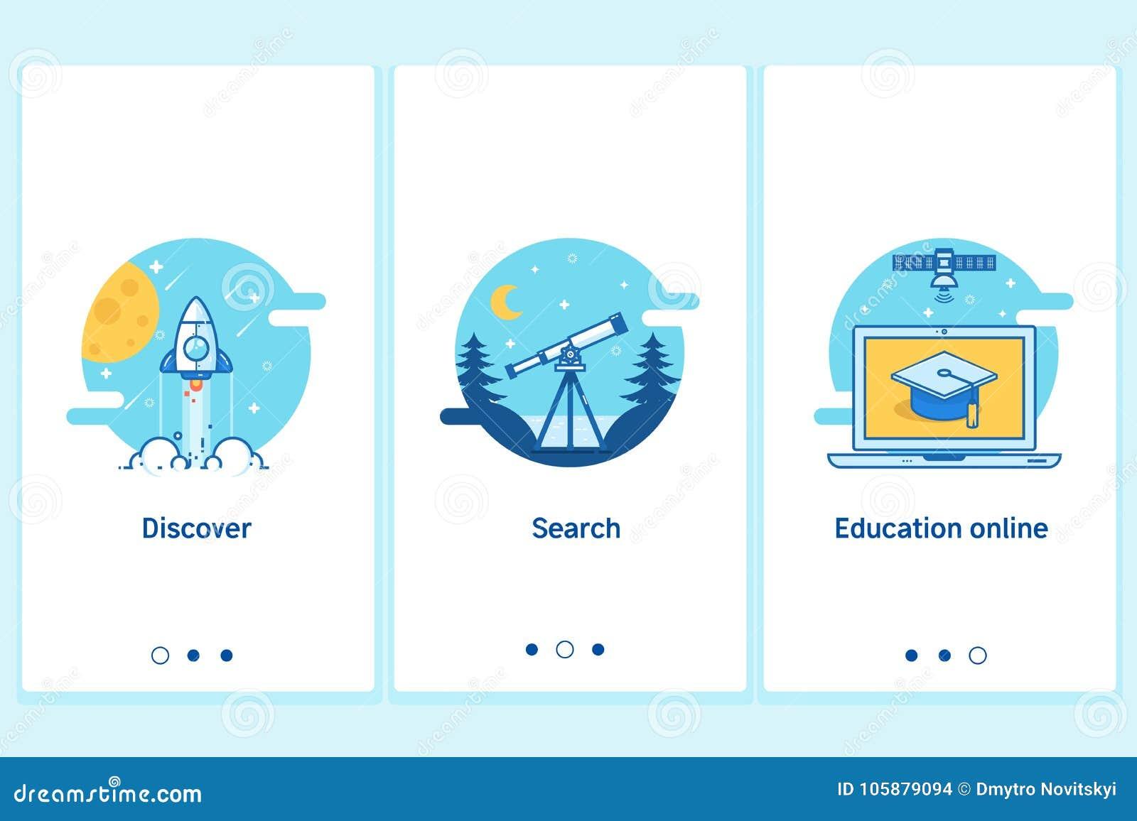 Σε απευθείας σύνδεση έννοια εκπαίδευσης στο λεπτό επίπεδο, γραμμικό ύφος Σύγχρονο πρότυπο οθόνης διεπαφών UX UI GUI για το έξυπνο