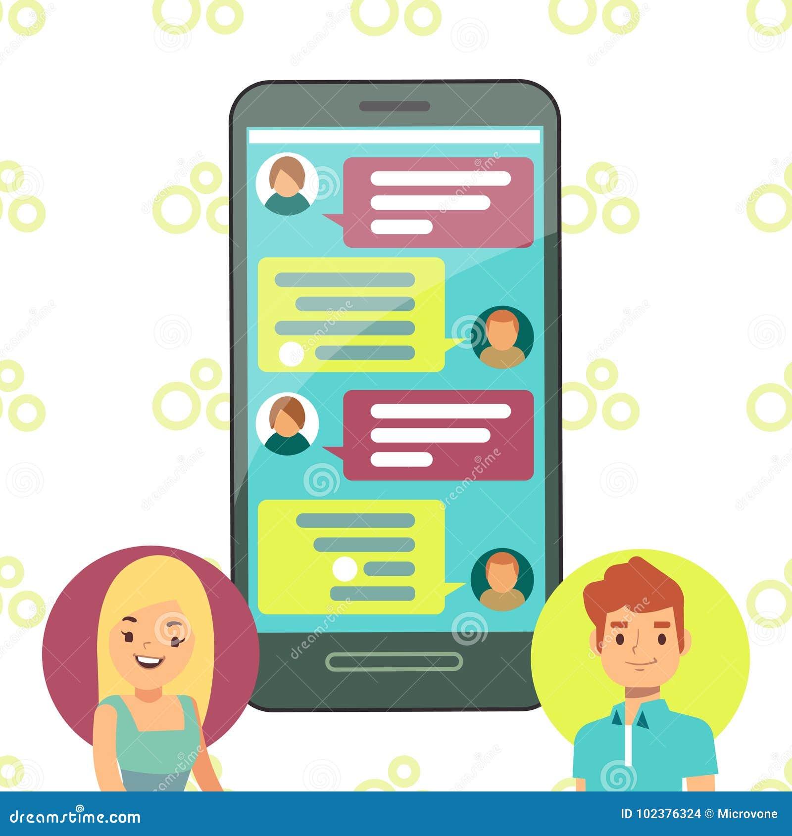 Σε απευθείας σύνδεση έννοια τηλεφωνικής συνομιλίας - να κουβεντιάσει κυττάρων κοριτσιών και αγοριών