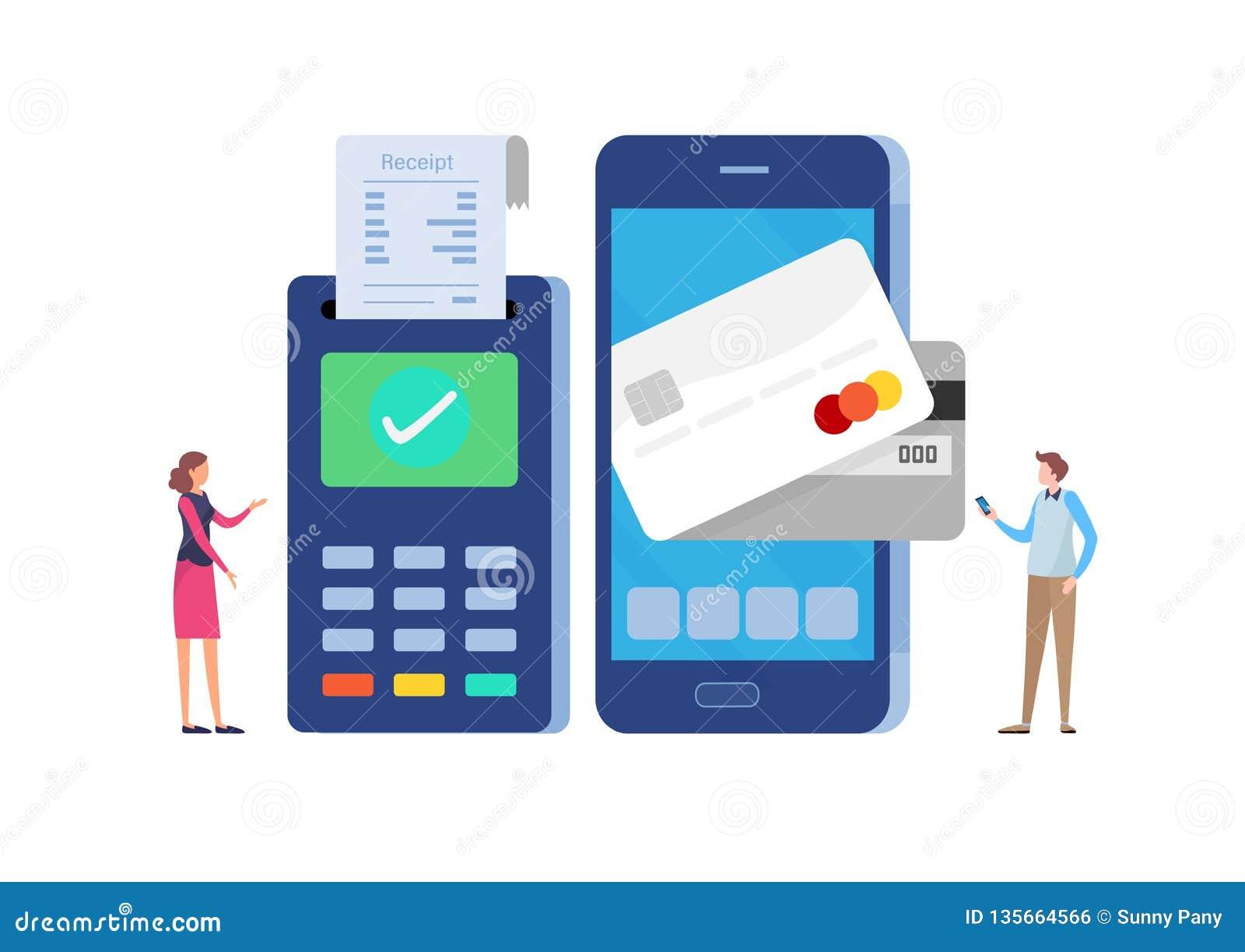 Σε απευθείας σύνδεση πληρωμή με το smartphone Πληρωμένος από την πιστωτική κάρτα Επίπεδο διάνυσμα απεικόνισης κινούμενων σχεδίων