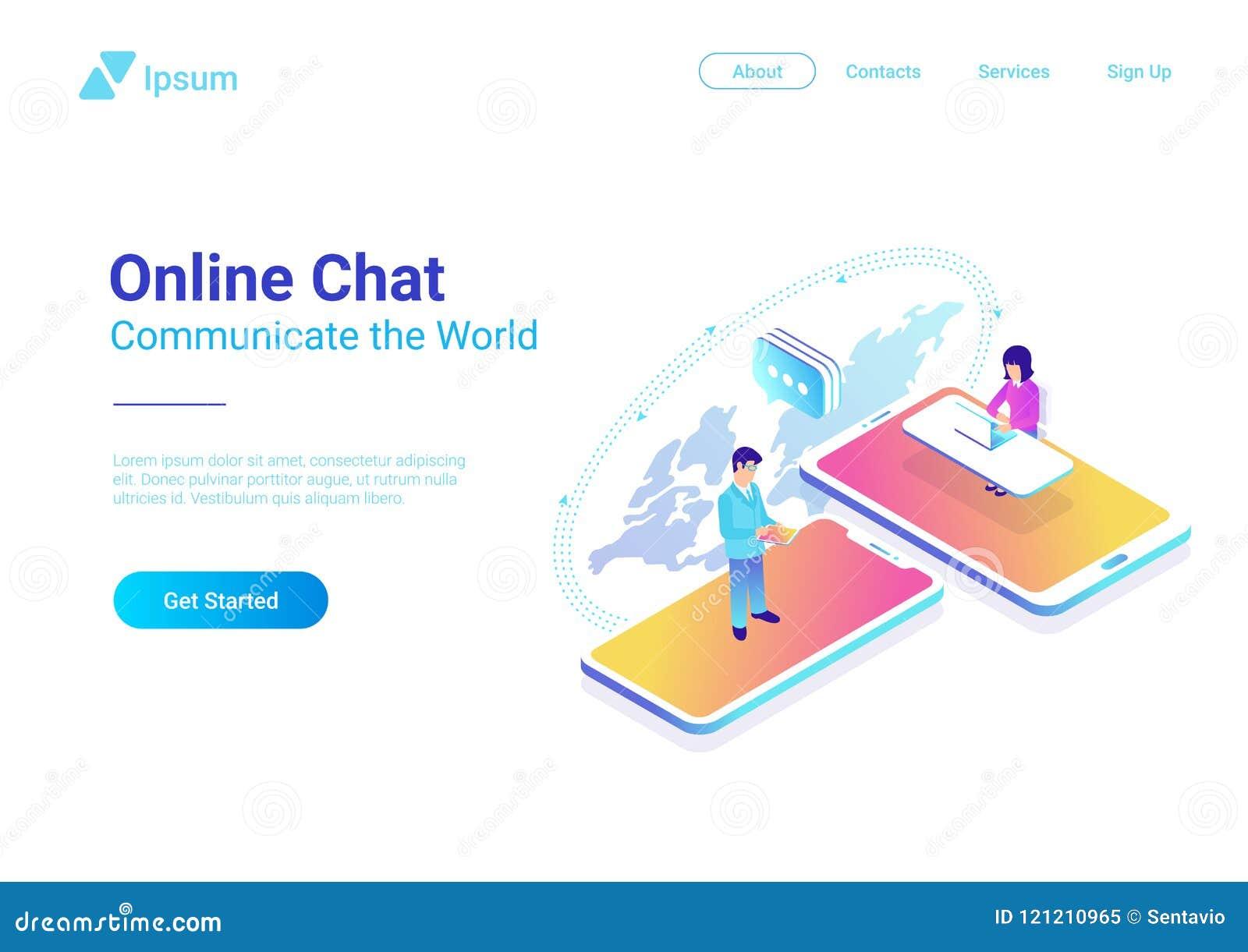 Σε απευθείας σύνδεση συνομιλία επικοινωνίας isometric Άνθρωποι talkin