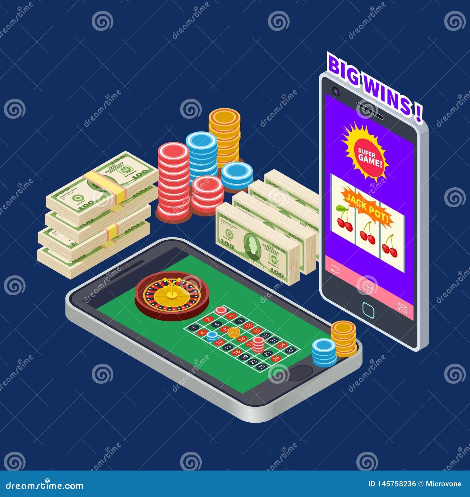 Σε απευθείας σύνδεση χαρτοπαικτική λέσχη ή παιχνίδι με τη isometric διανυσματική έννοια τραπεζογραμματίων και τσιπ