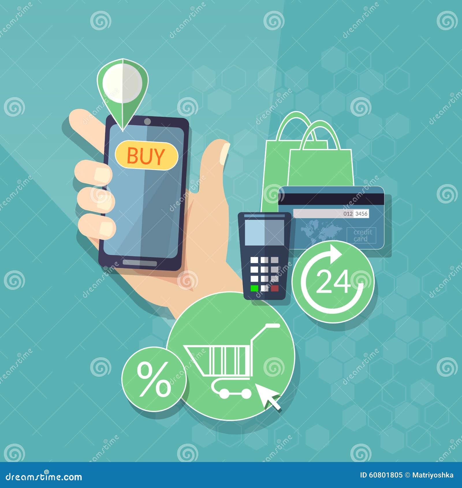 Σε απευθείας σύνδεση αγορών ηλεκτρονικού εμπορίου κουμπί αγορών έννοιας κινητό