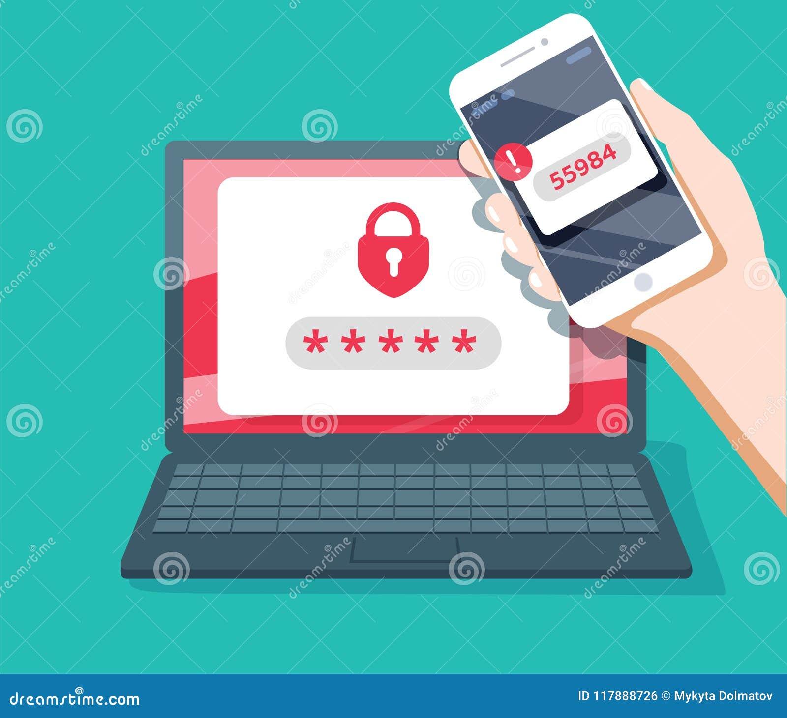 Σε δύο στάδια διανυσματική απεικόνιση επικύρωσης, επίπεδες smartphone κινούμενων σχεδίων και σύνδεση ασφάλειας υπολογιστών ή sign
