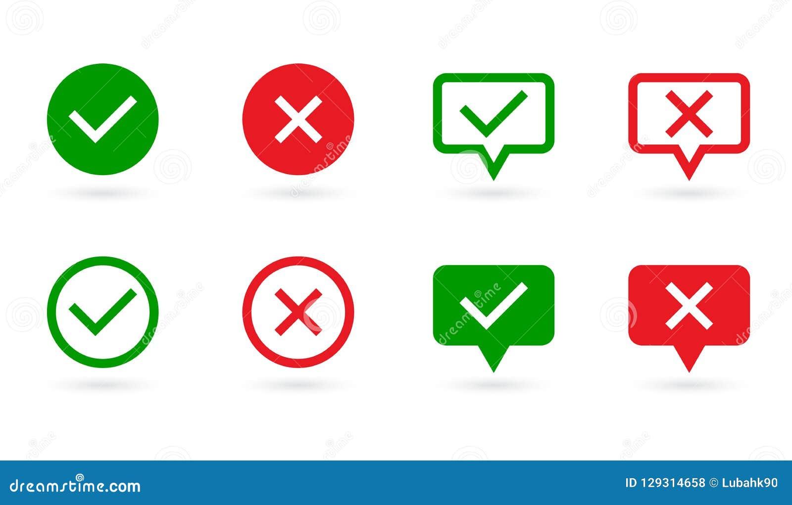 Σημάδια ελέγχου καθορισμένα Πράσινος κρότωνας και Ερυθρός Σταυρός στη μορφή λεκτικών φυσαλίδων και κύκλων Ναι ή όχι σύμβολο Έννοι