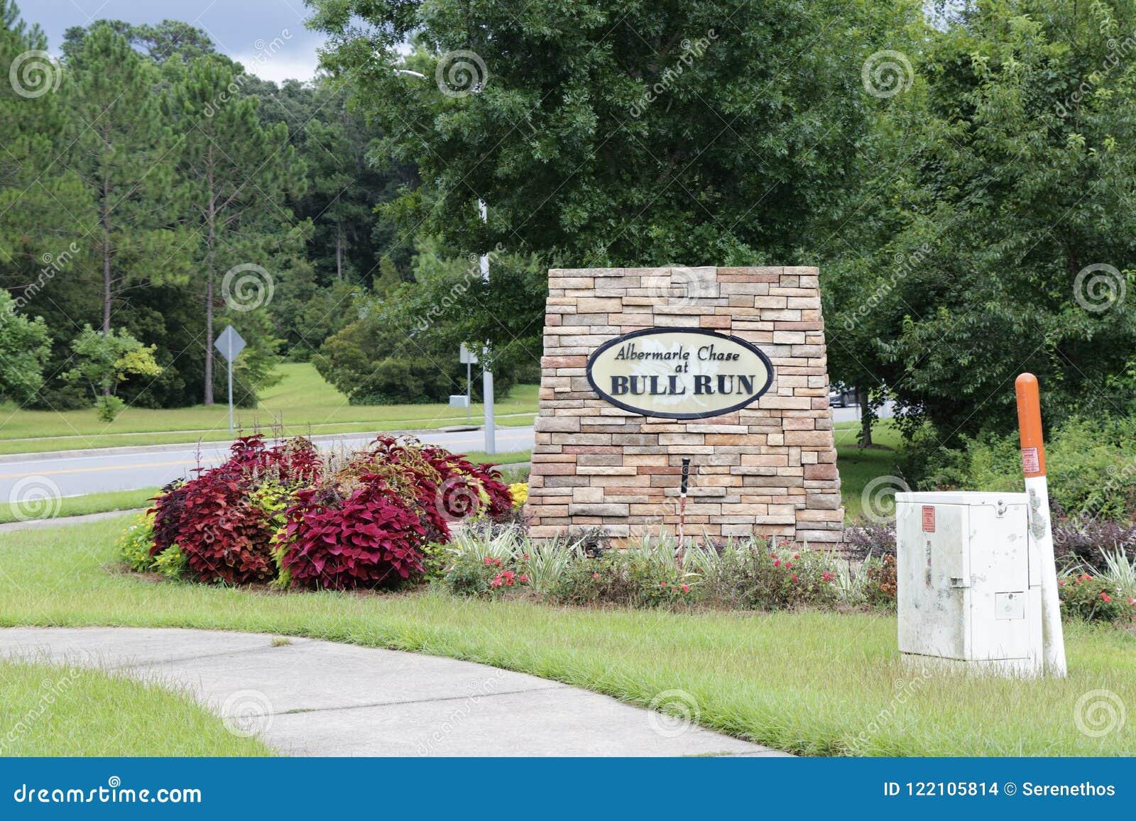 Σημάδι γειτονιάς τρεξίματος του Bull αυλακώματος Albermarle σε Tallahassee