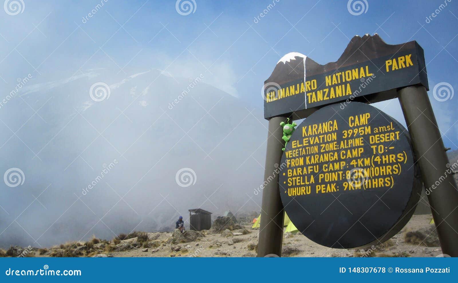 Σημάδι ενός στρατόπεδου στο βουνό Kilimanjaro